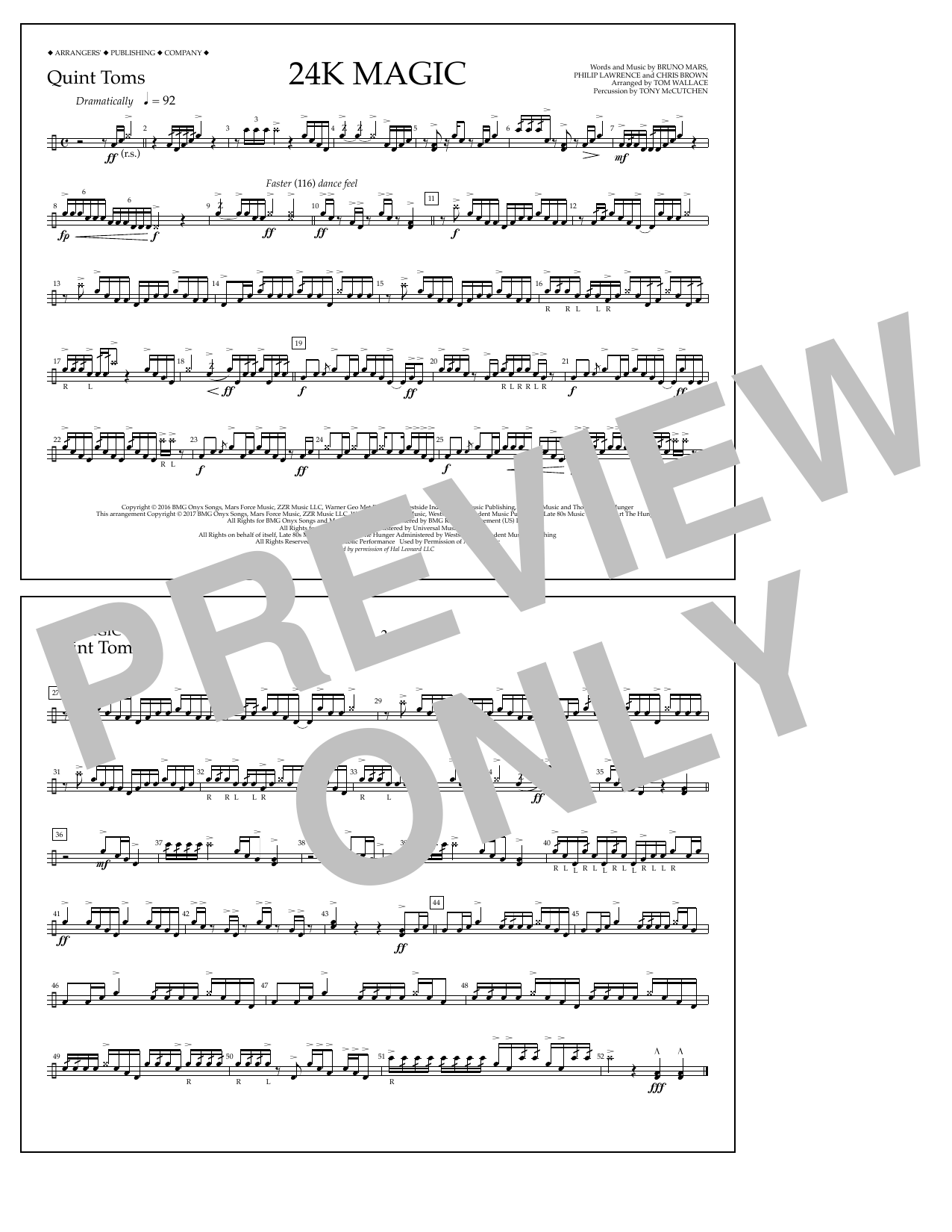 24K Magic - Quint-Toms Sheet Music