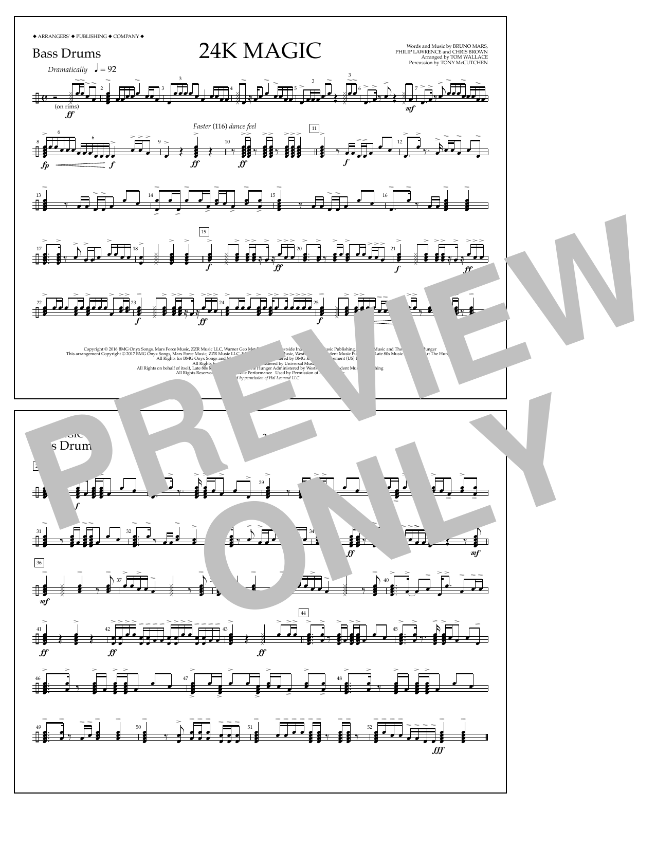 24K Magic - Bass Drums Sheet Music