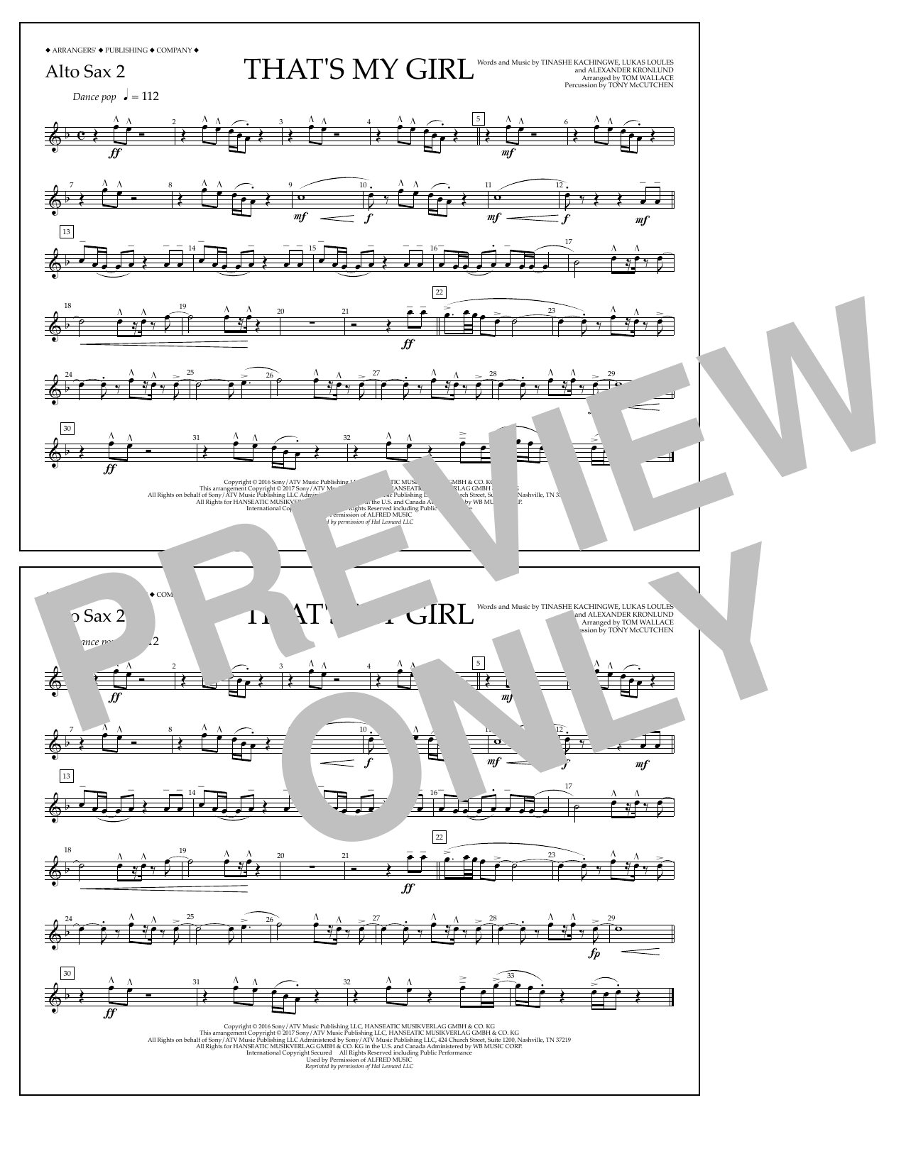 That's My Girl - Alto Sax 2 Sheet Music