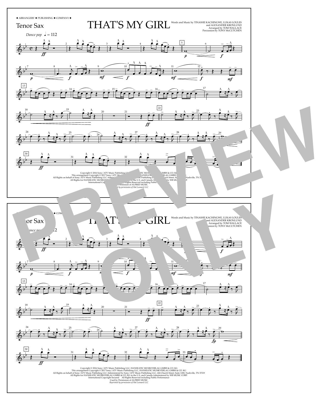 That's My Girl - Tenor Sax Sheet Music