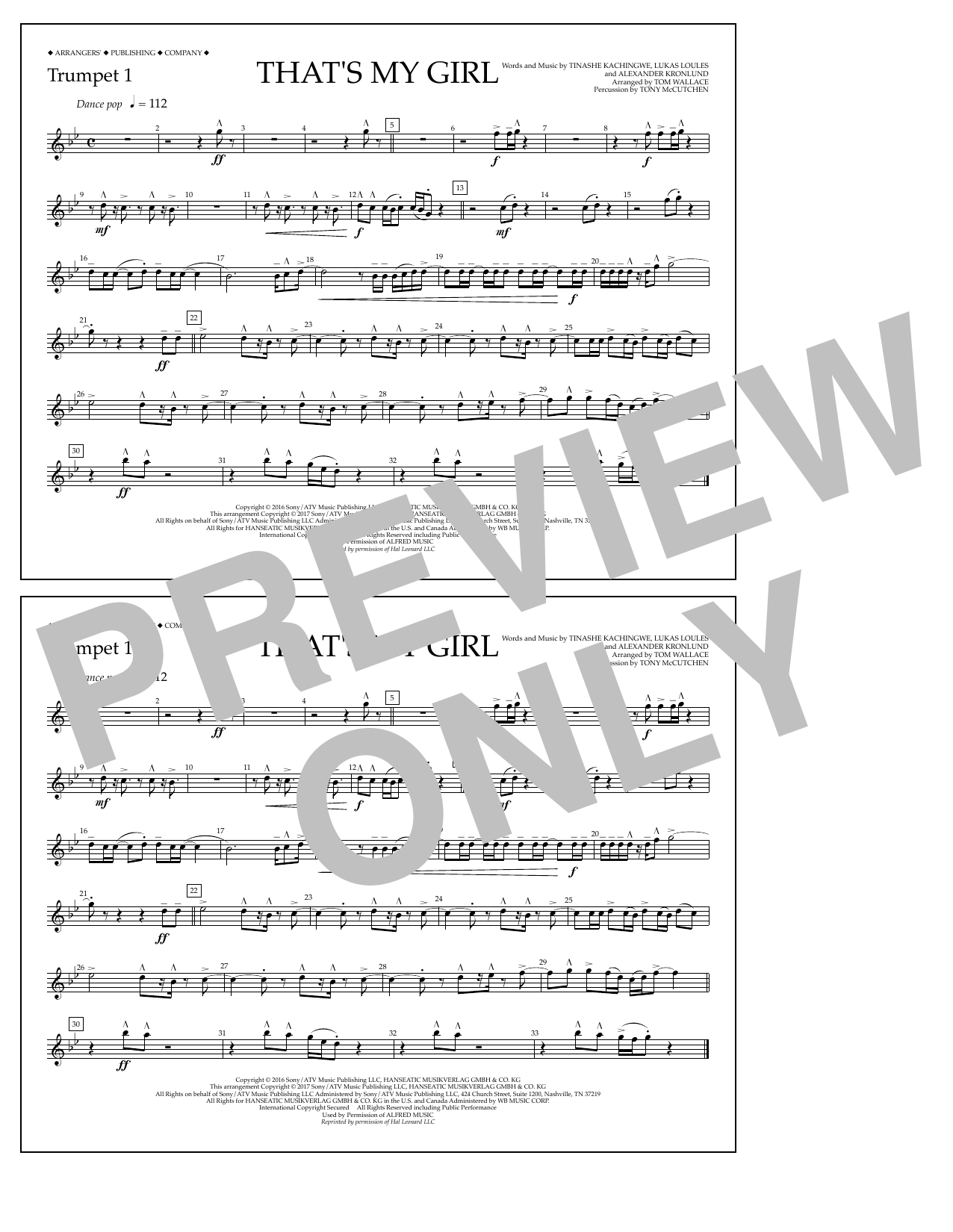 That's My Girl - Trumpet 1 Sheet Music