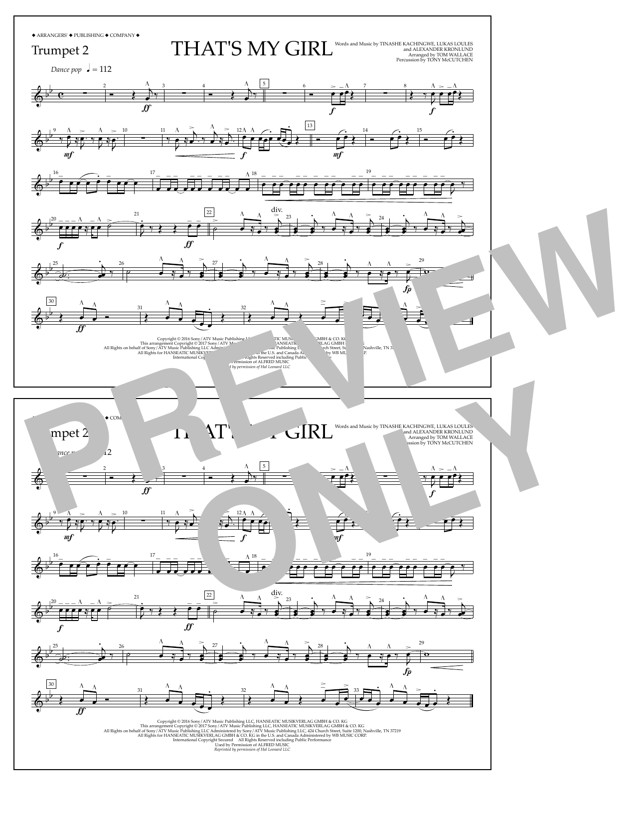That's My Girl - Trumpet 2 Sheet Music