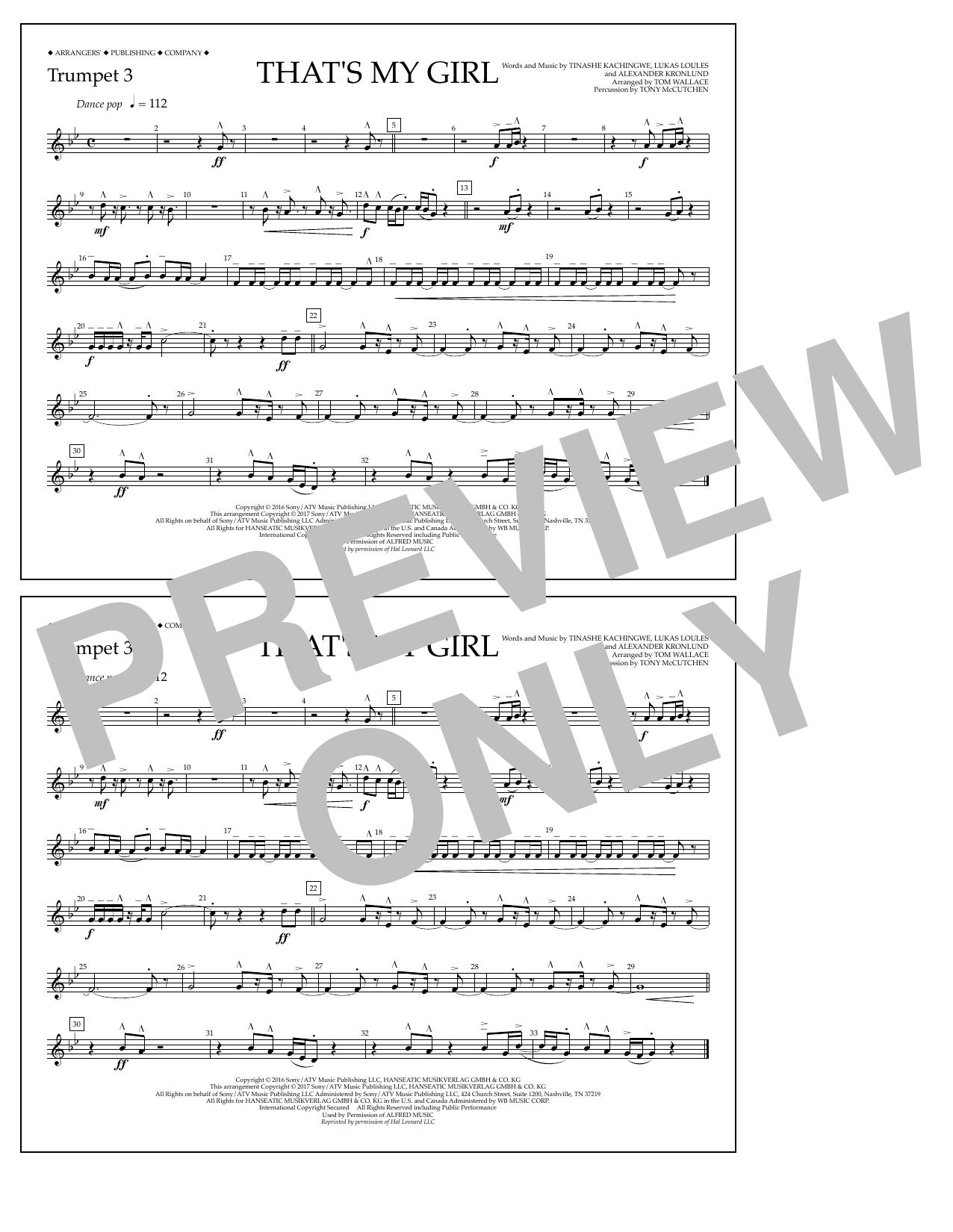 That's My Girl - Trumpet 3 Sheet Music