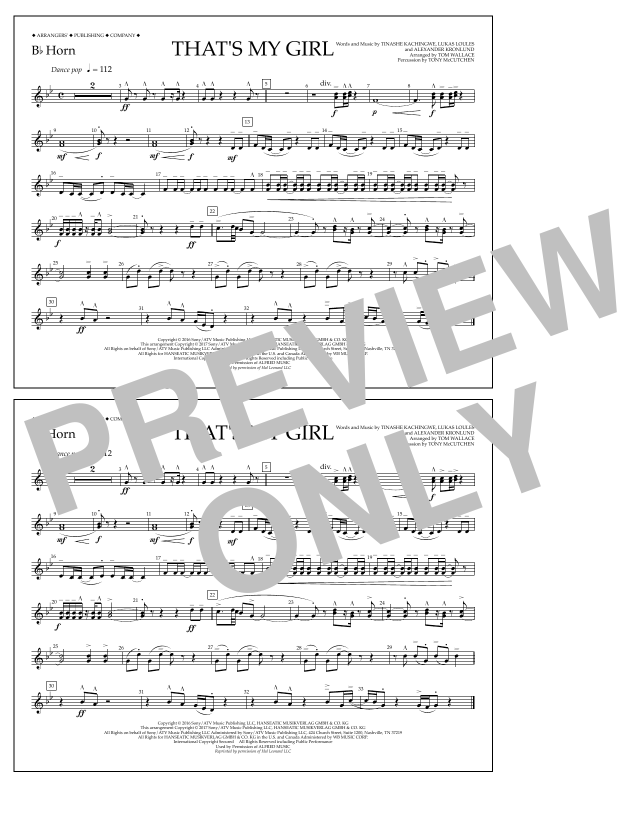 That's My Girl - Bb Horn Sheet Music