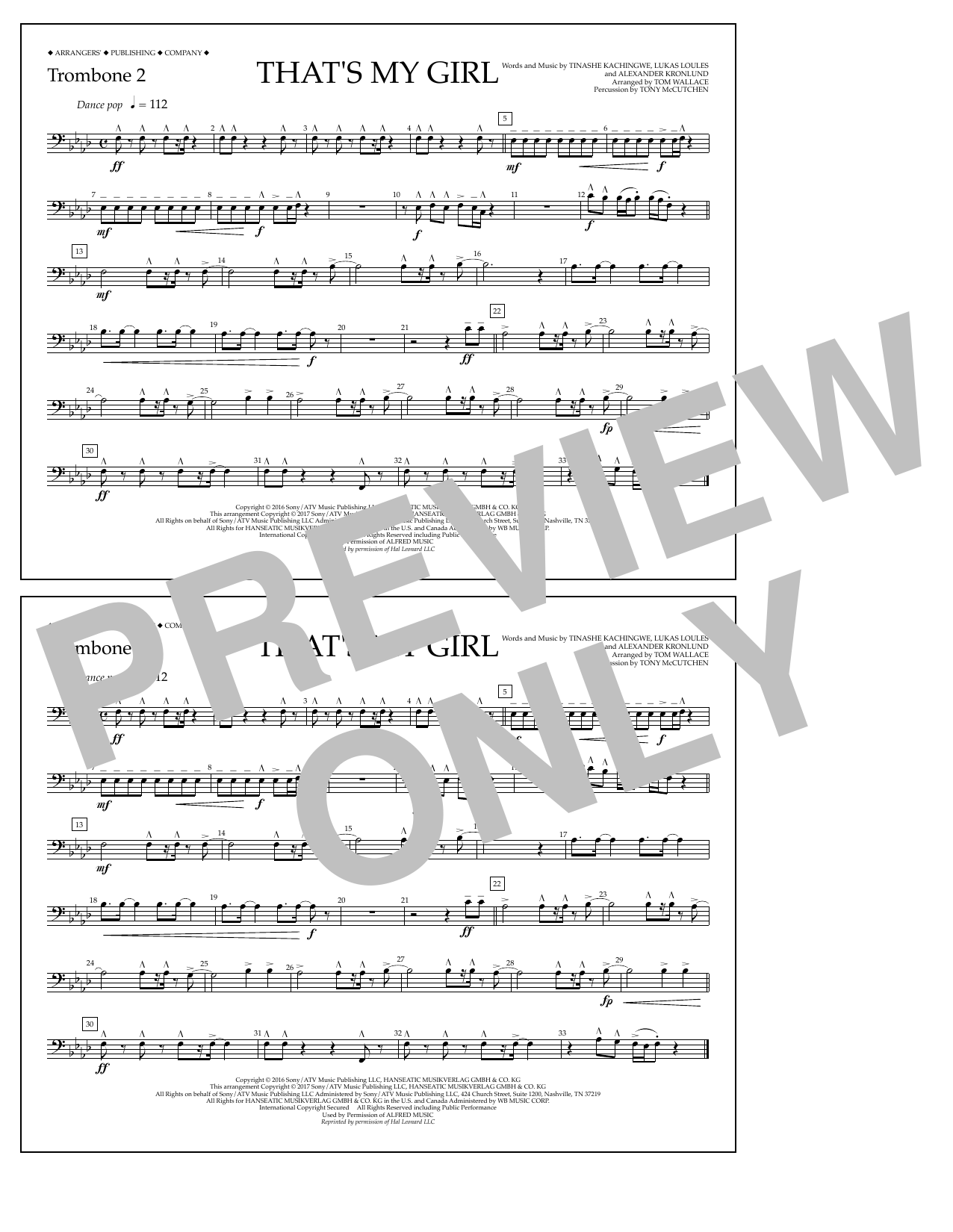 That's My Girl - Trombone 2 Sheet Music