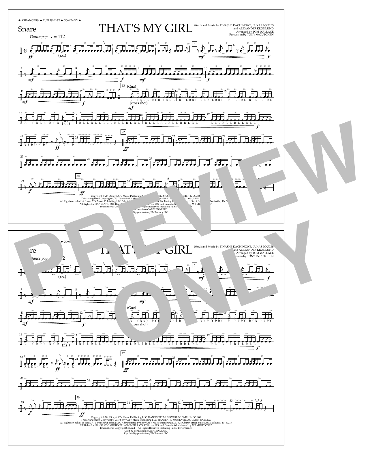 That's My Girl - Snare Sheet Music