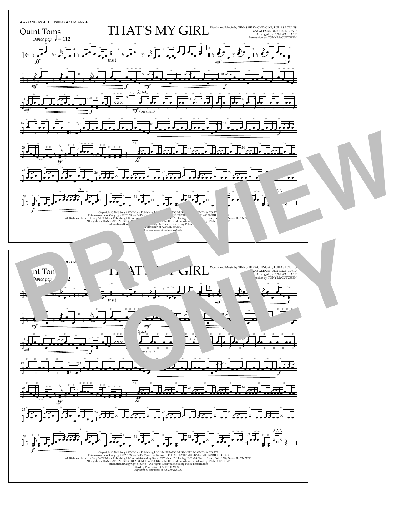 That's My Girl - Quint-Toms Sheet Music