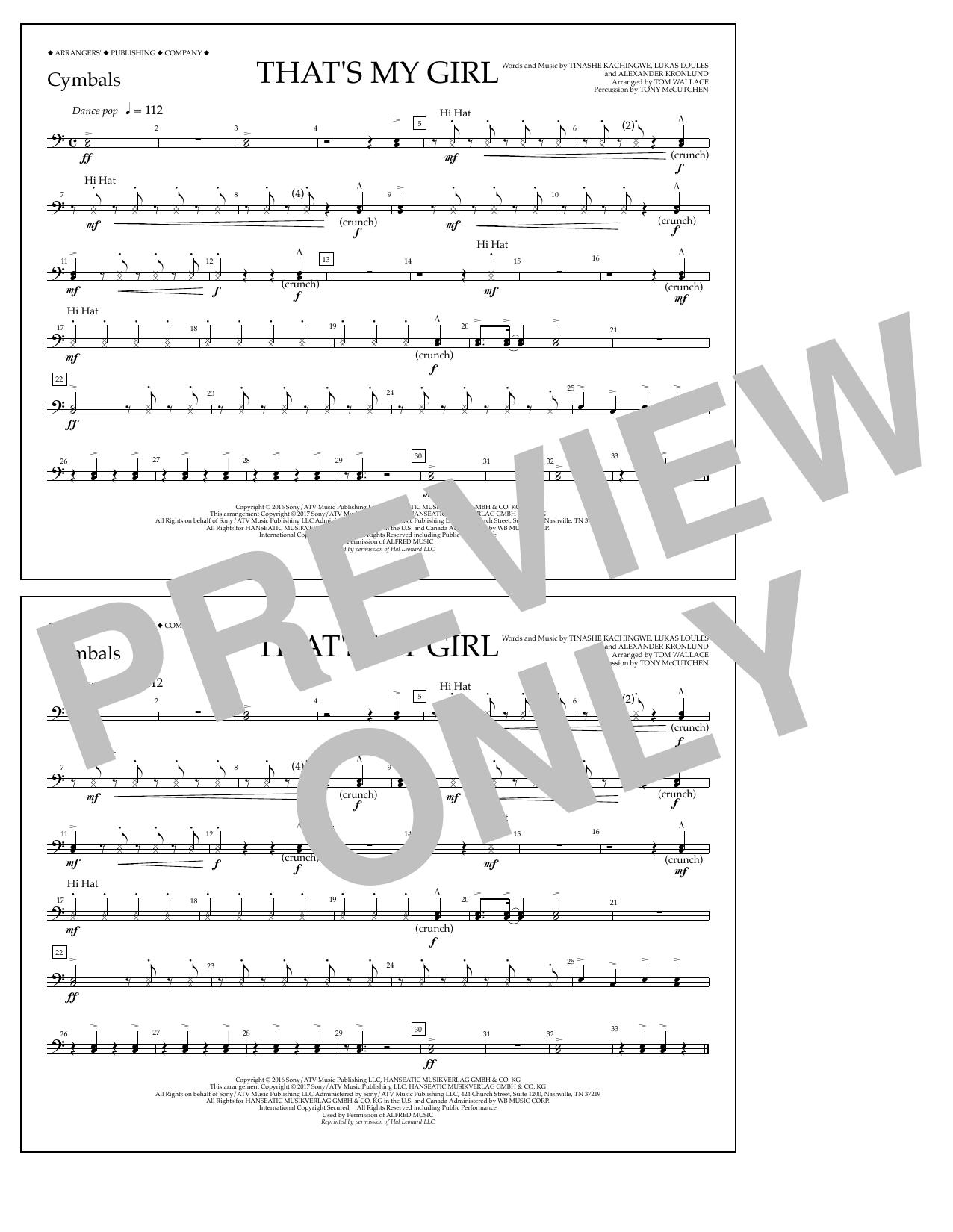 That's My Girl - Cymbals Digitale Noten