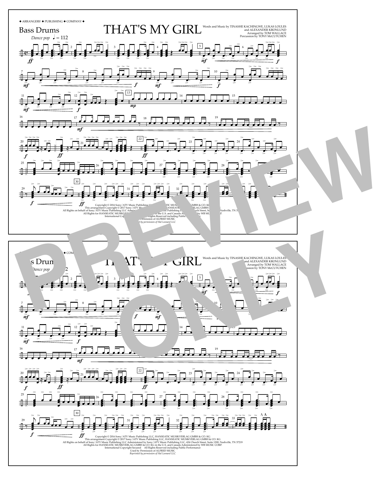 That's My Girl - Bass Drums Partition Digitale