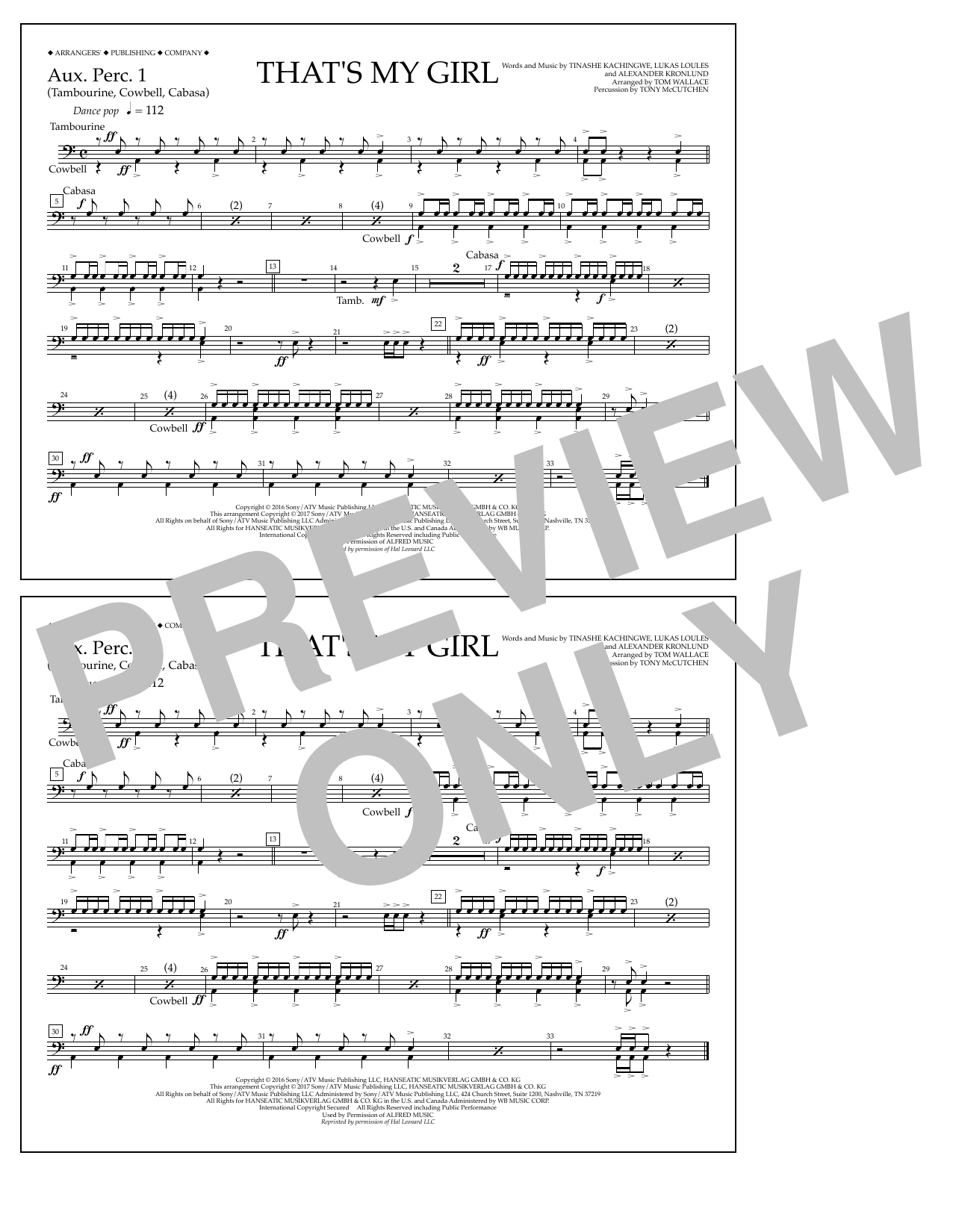 That's My Girl - Aux. Perc. 1 Sheet Music