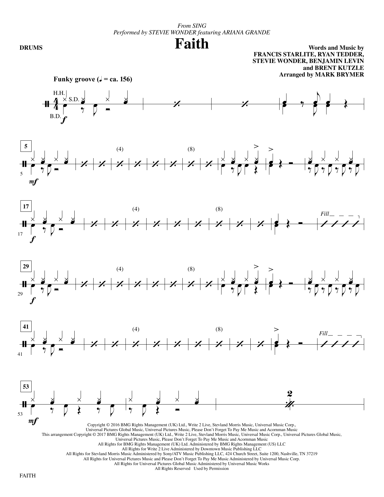 Faith - Drums Sheet Music