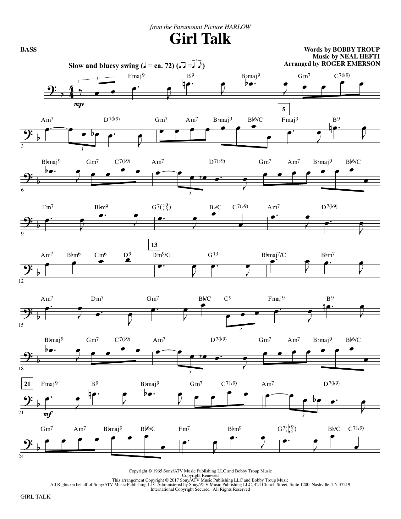 Girl Talk - Bass Sheet Music