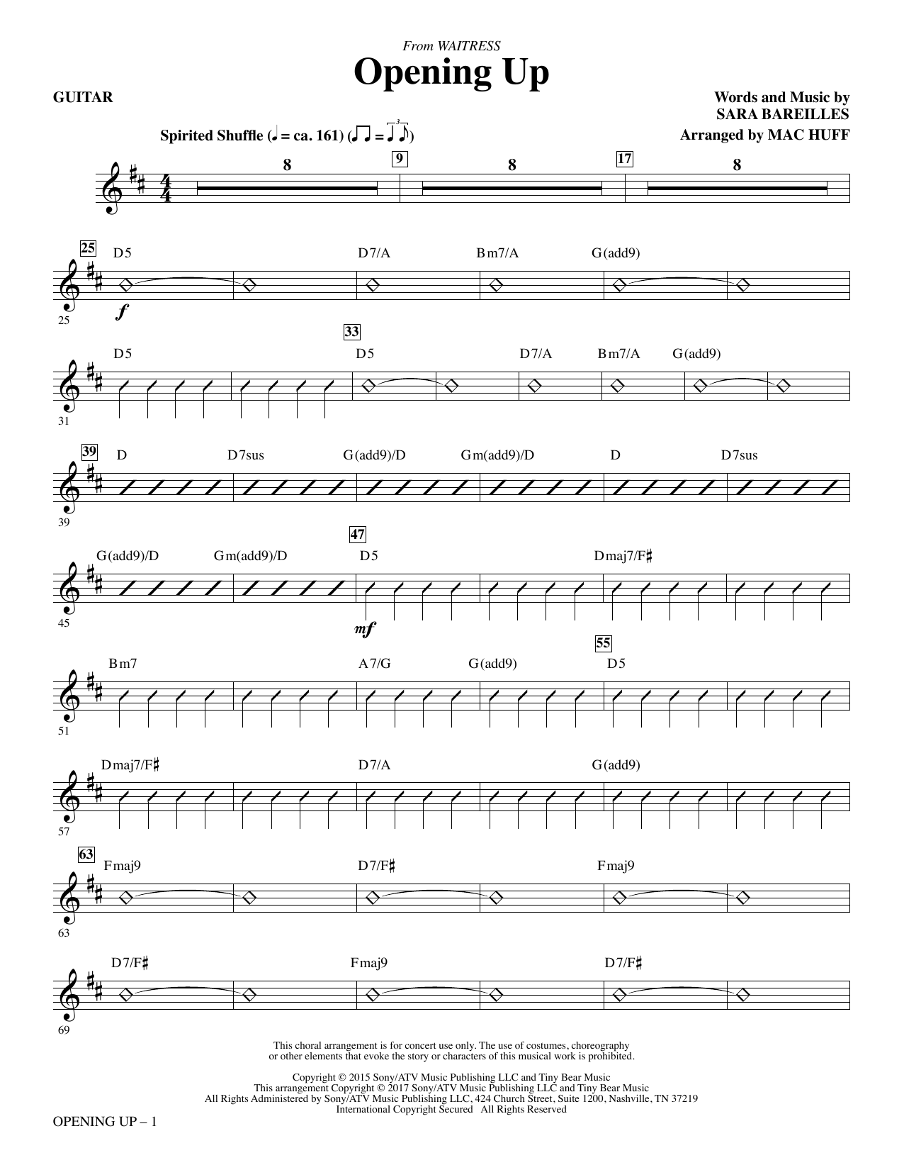 Opening Up (from Waitress The Musical) (arr. Mac Huff) - Guitar (Choir Instrumental Pak)