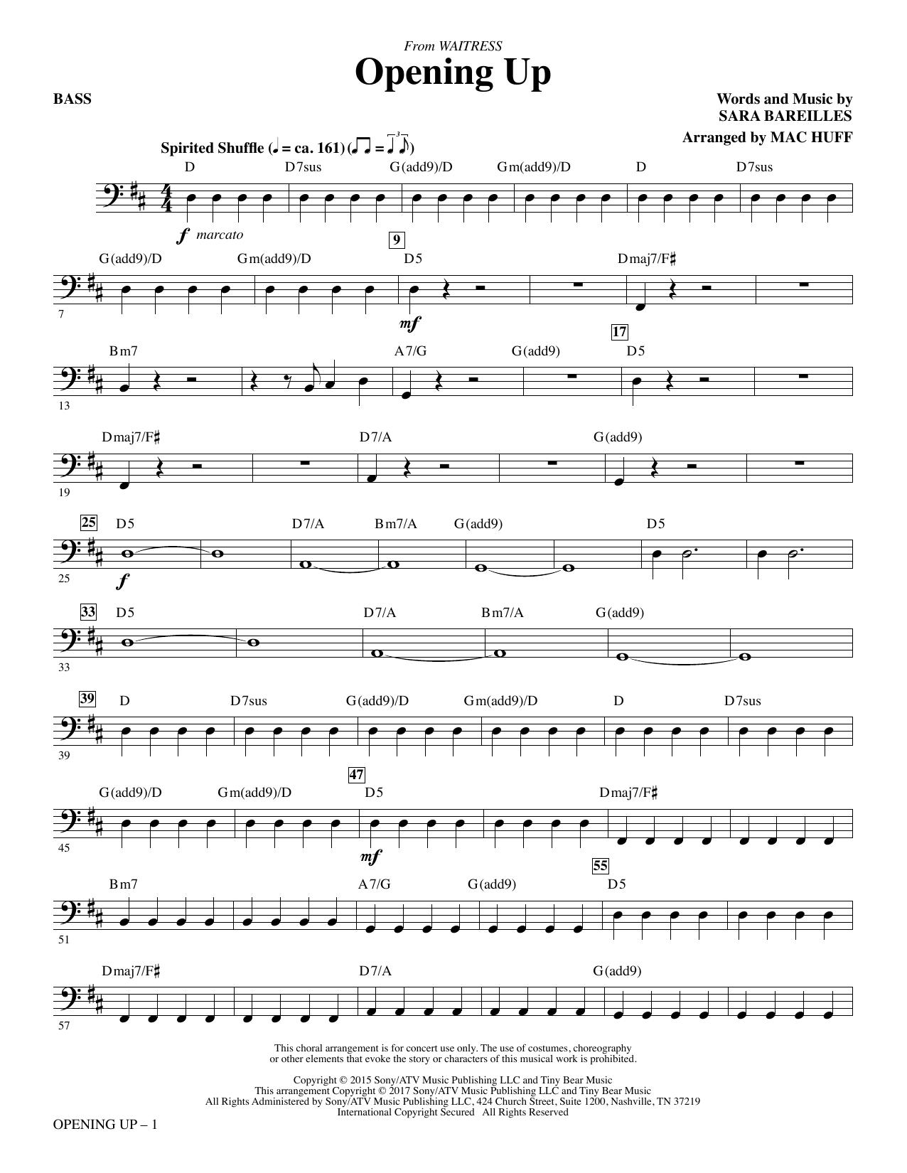Opening Up (from Waitress The Musical) (arr. Mac Huff) - Bass Sheet Music