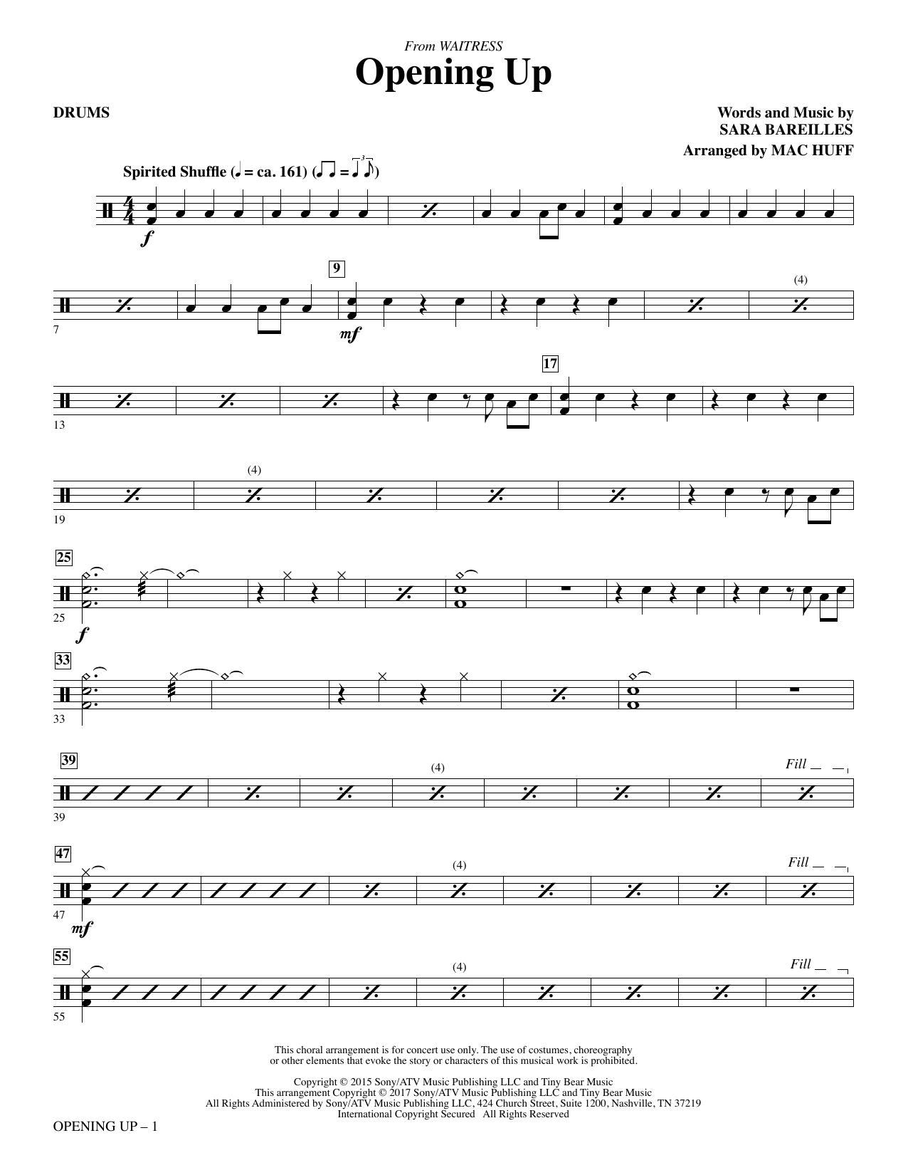 Opening Up (from Waitress The Musical) (arr. Mac Huff) - Drums Sheet Music