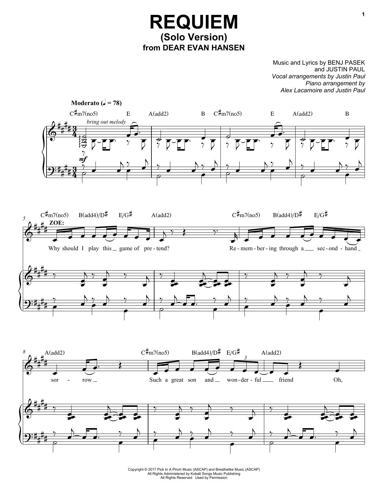 Requiem Solo Version From Dear Evan Hansen Piano Vocal
