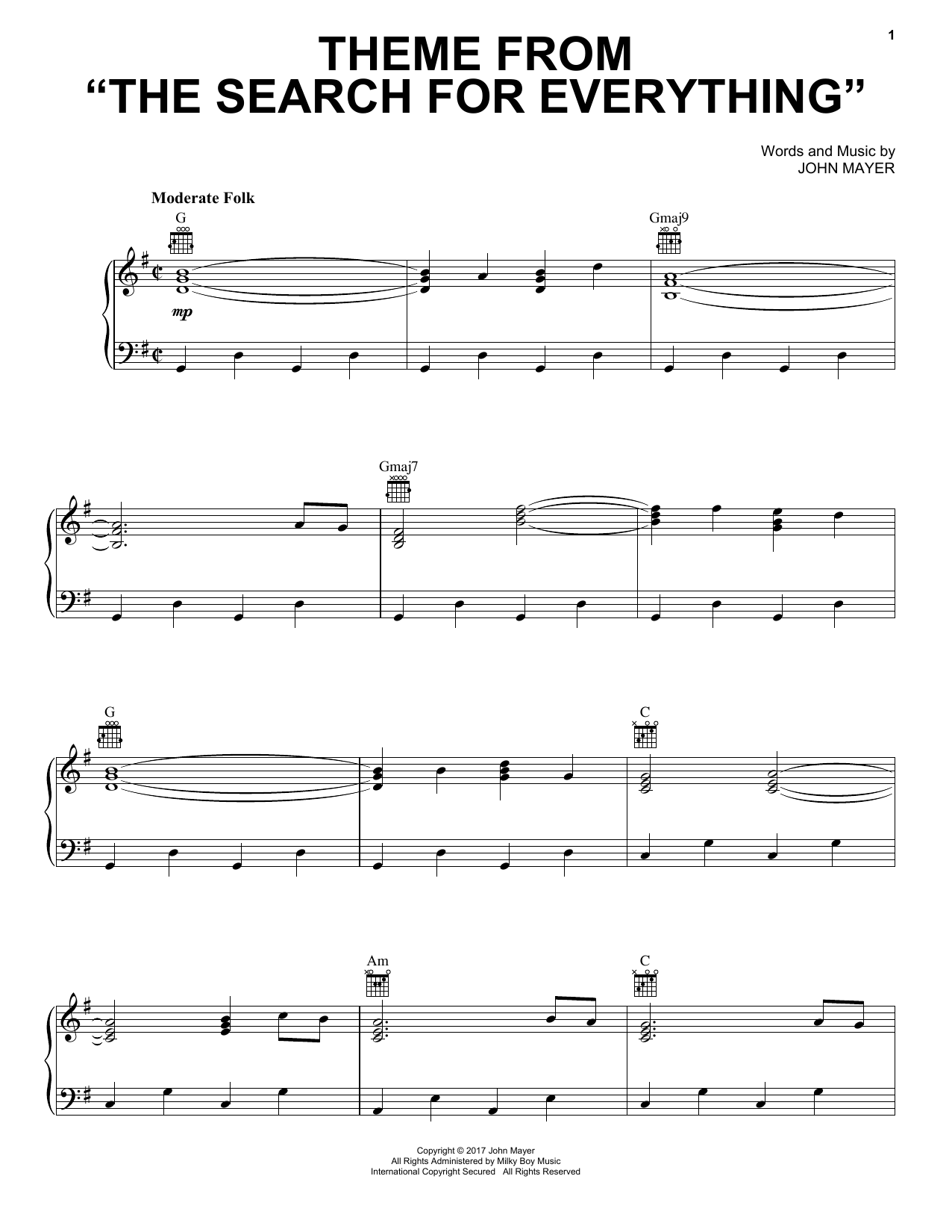 Theme From The Search For Everything (Piano, Vocal & Guitar (Right-Hand Melody))