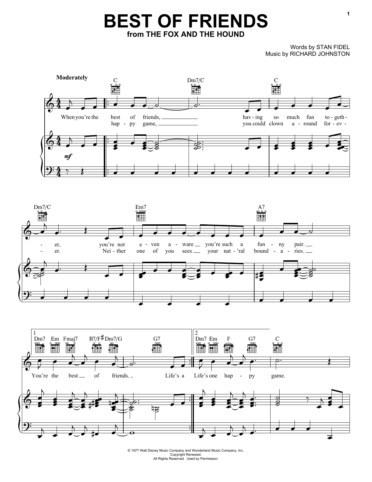 Best Of Friends (Piano, Vocal & Guitar (Right-Hand Melody))