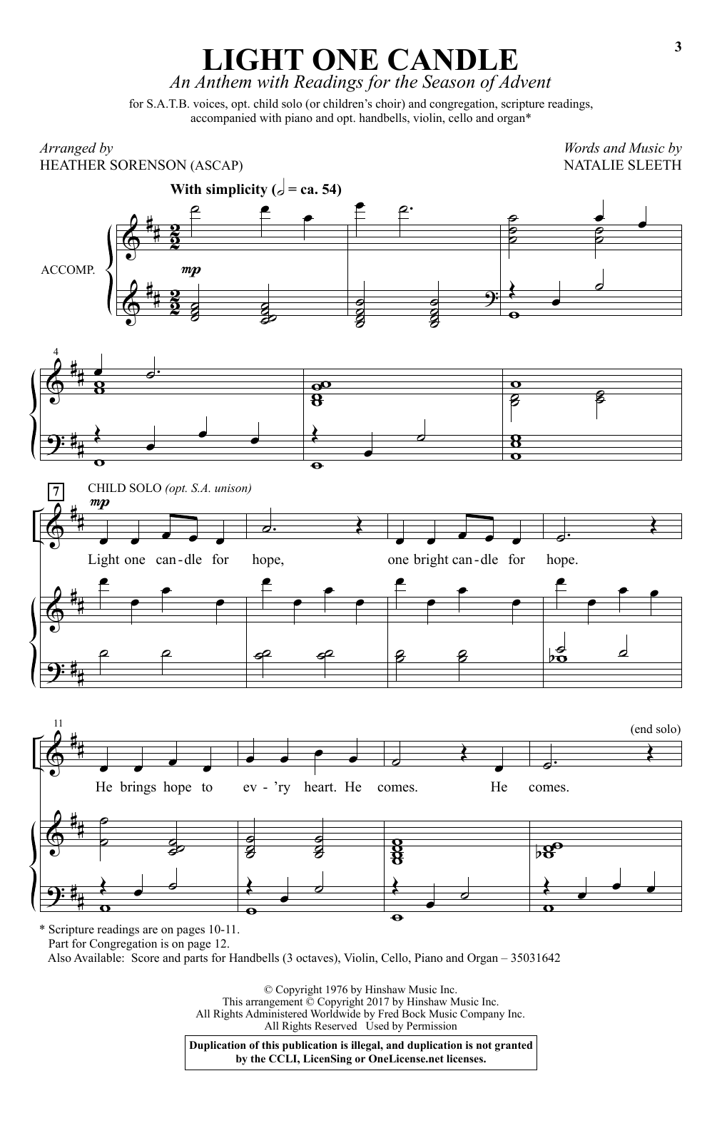 Light One Candle Sheet Music