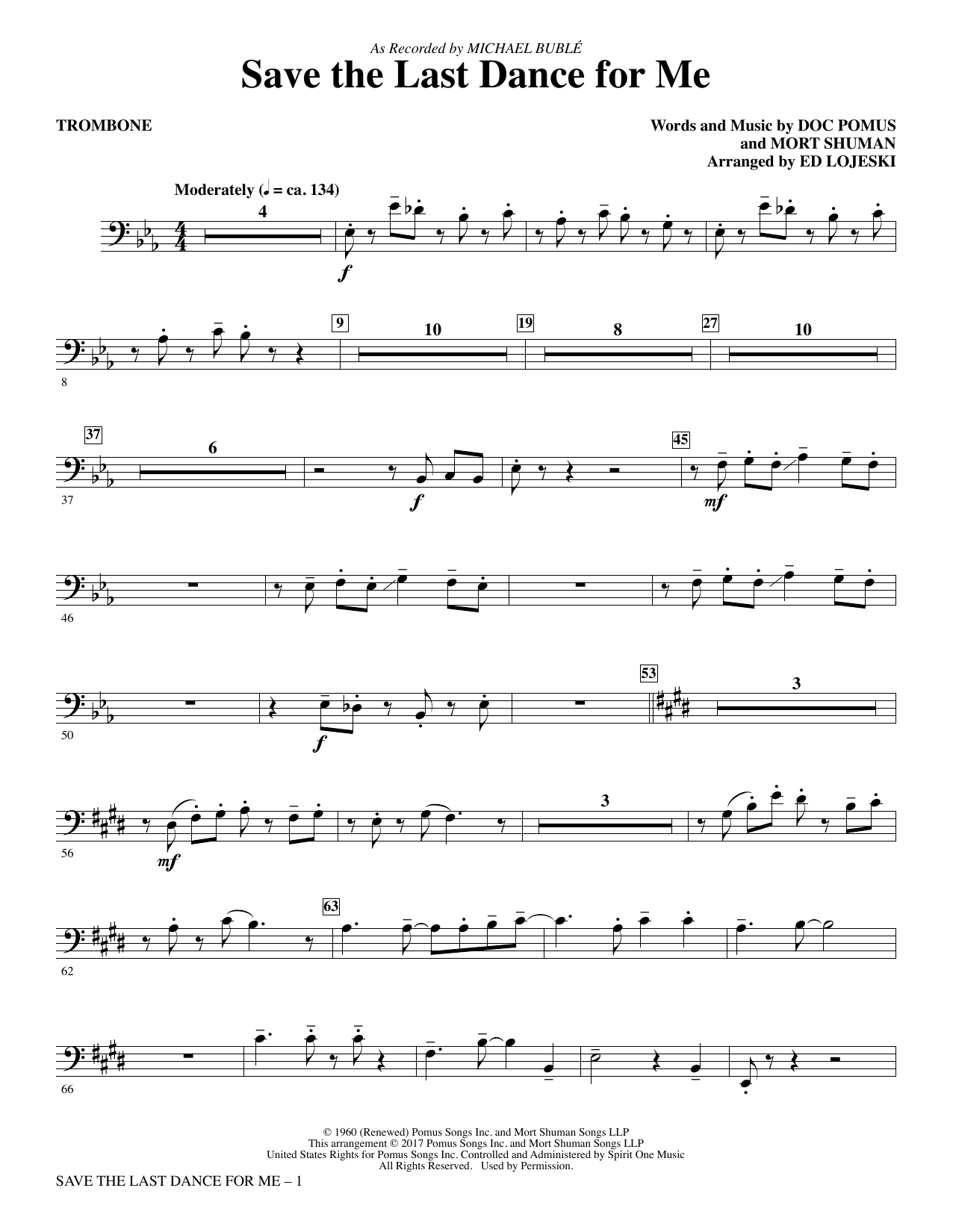 Save the Last Dance for Me - Trombone Sheet Music