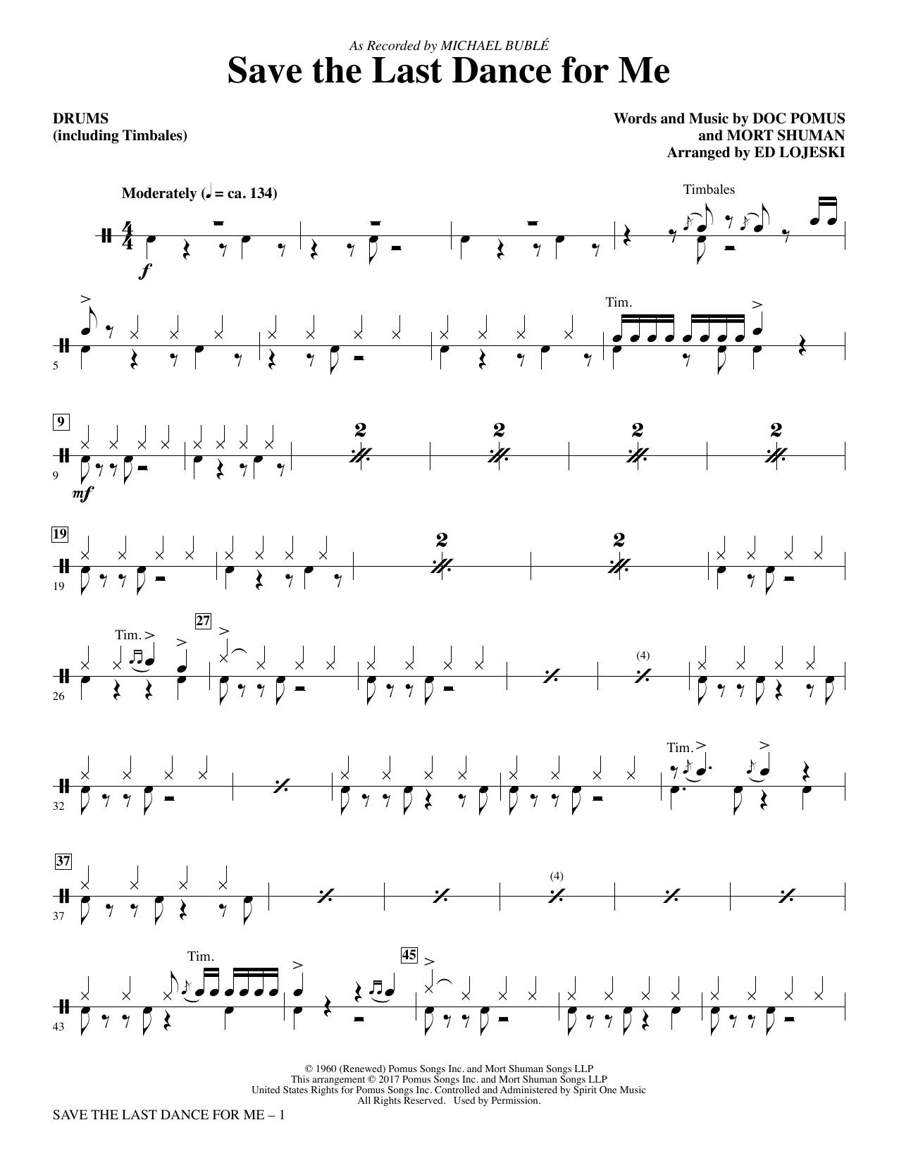Save the Last Dance for Me (arr. Ed Lojeski) - Drums/Timbales (Choir Instrumental Pak)