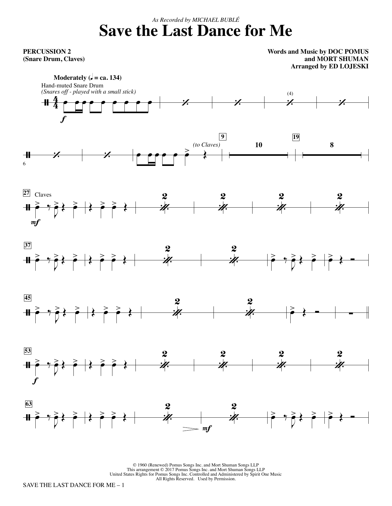 Save the Last Dance for Me (arr. Ed Lojeski) - Percussion 2 Partition Digitale