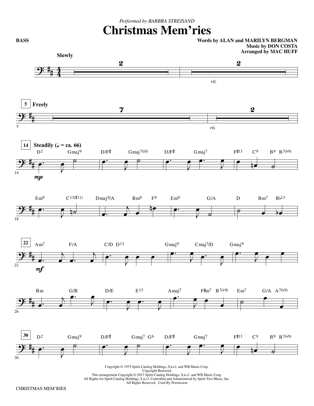 Christmas Mem'ries - Bass Sheet Music