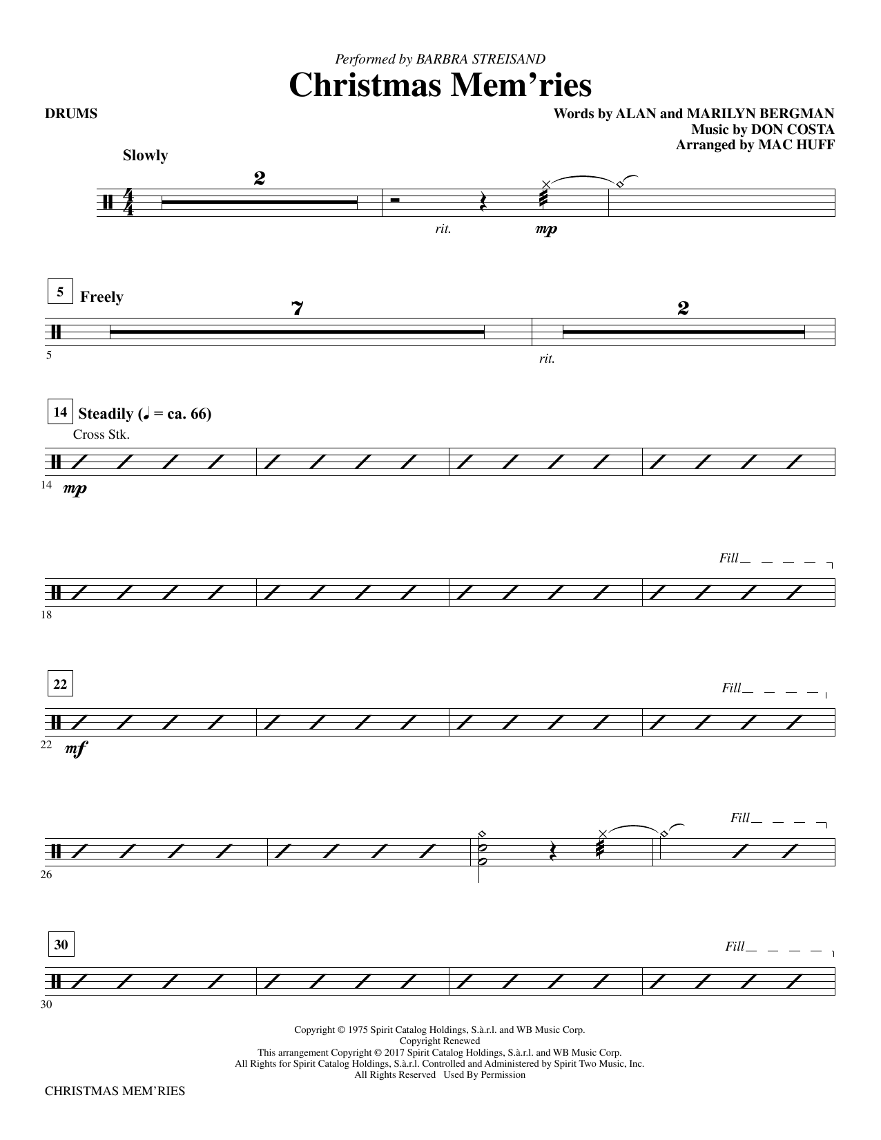 Christmas Mem'ries - Drums Sheet Music