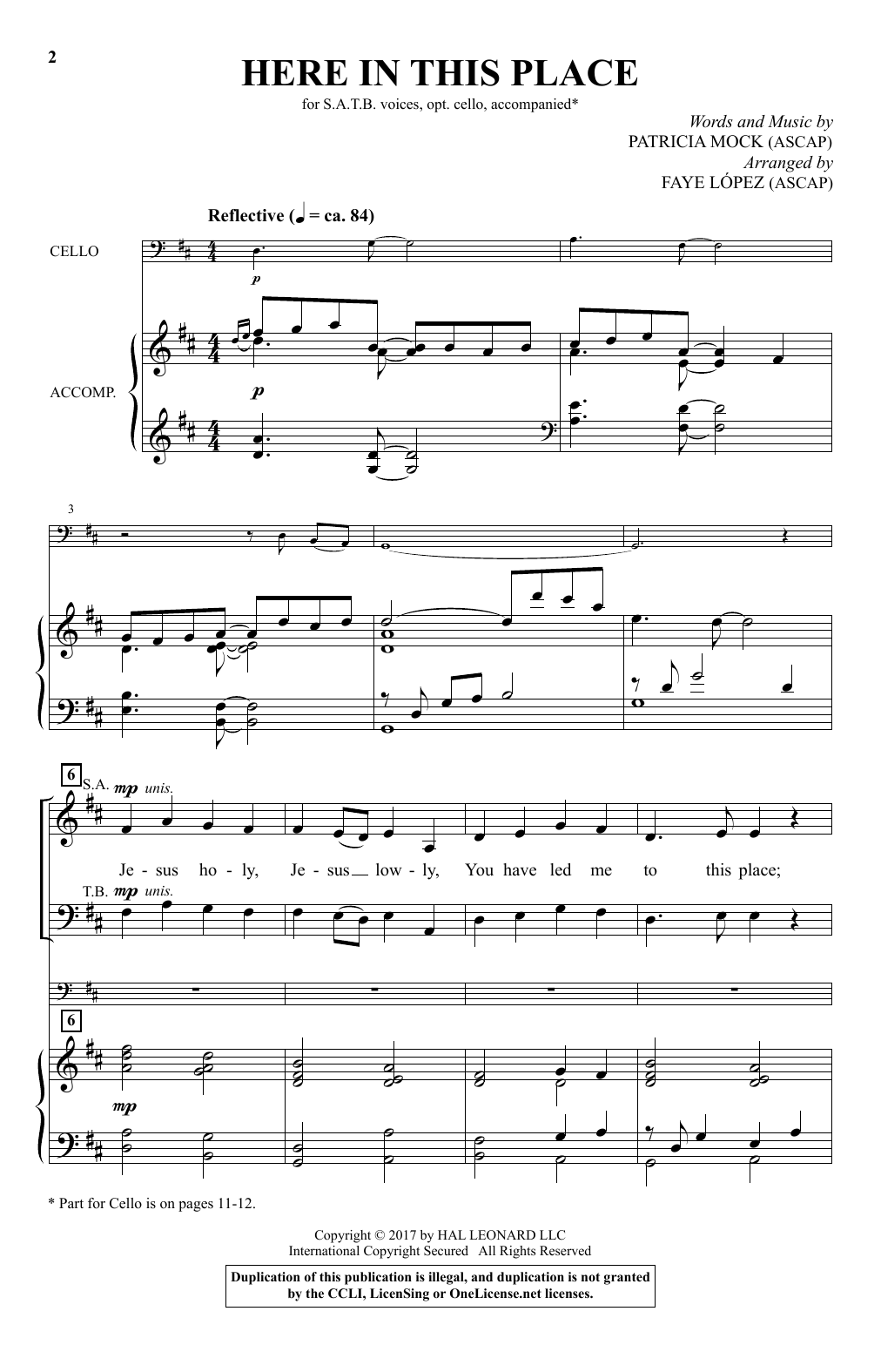 Here In This Place (arr. Faye Lopez) (SATB Choir)
