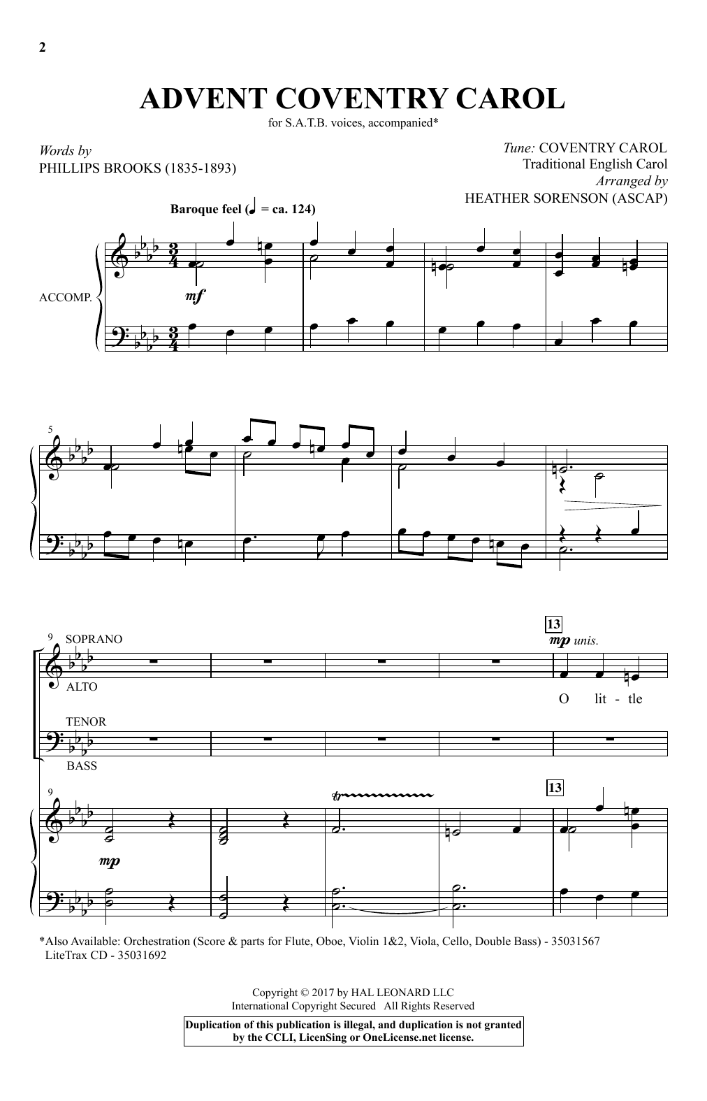Advent Coventry Carol (SATB Choir)