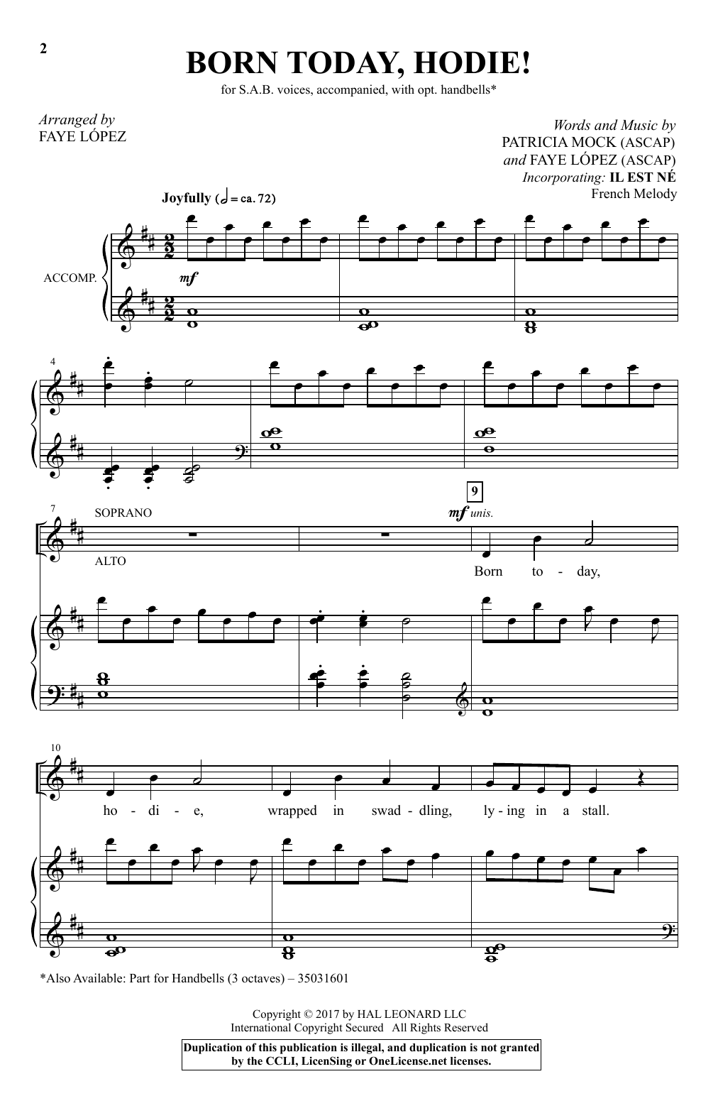 Born Today, Hodie! (arr. Faye Lopez) Sheet Music