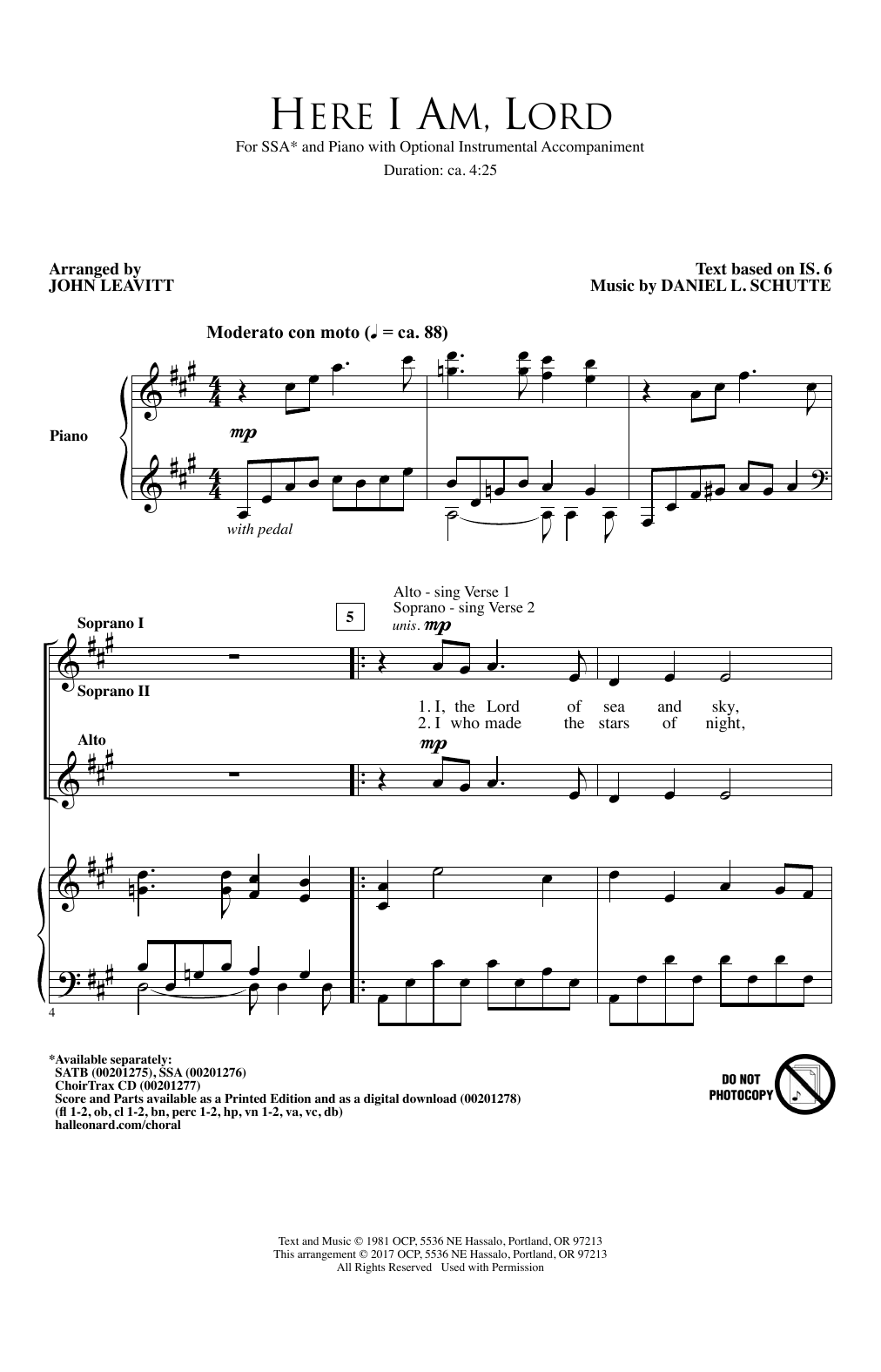 Here I Am, Lord Sheet Music
