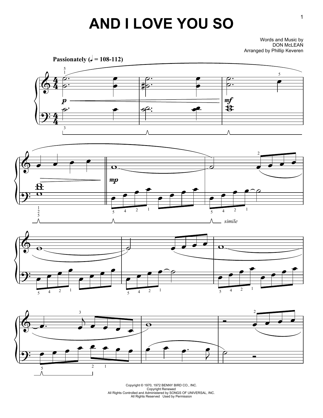 And I Love You So [Classical version] (arr. Phillip Keveren) (Easy Piano)