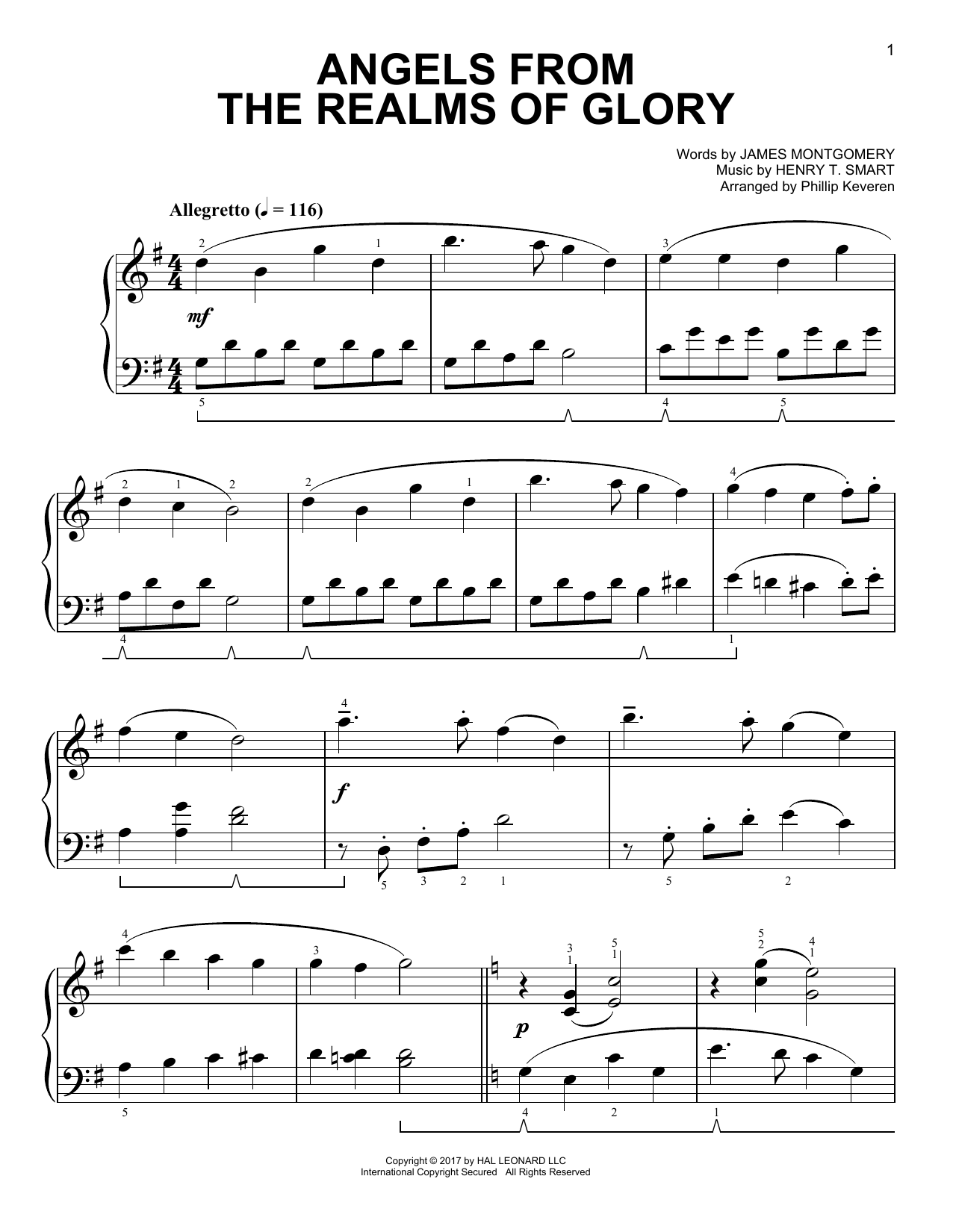 Angels From The Realms Of Glory [Classical version] (arr. Phillip Keveren) (Easy Piano)