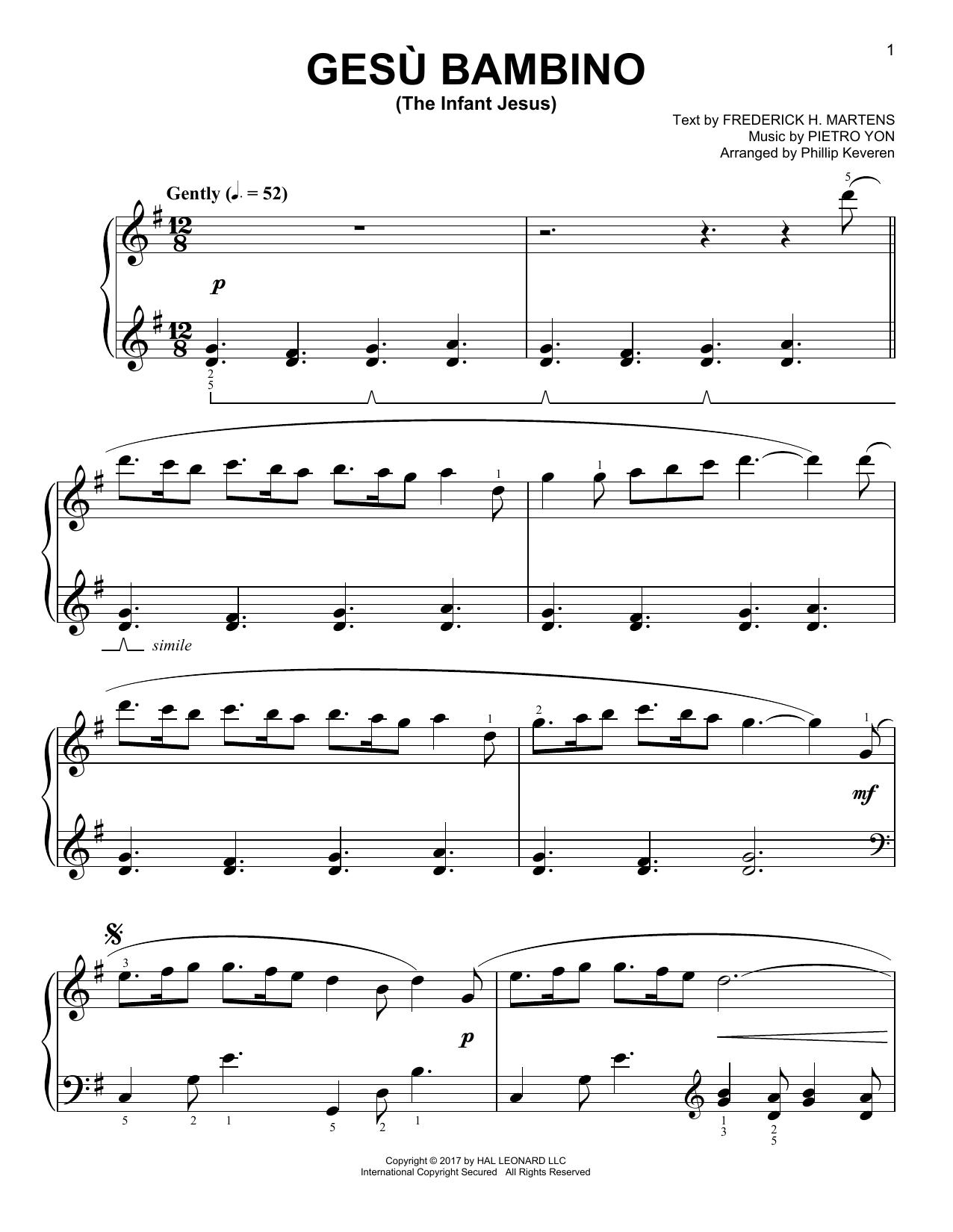 Gesu Bambino (The Infant Jesus) [Classical version] (arr. Phillip Keveren) (Easy Piano)