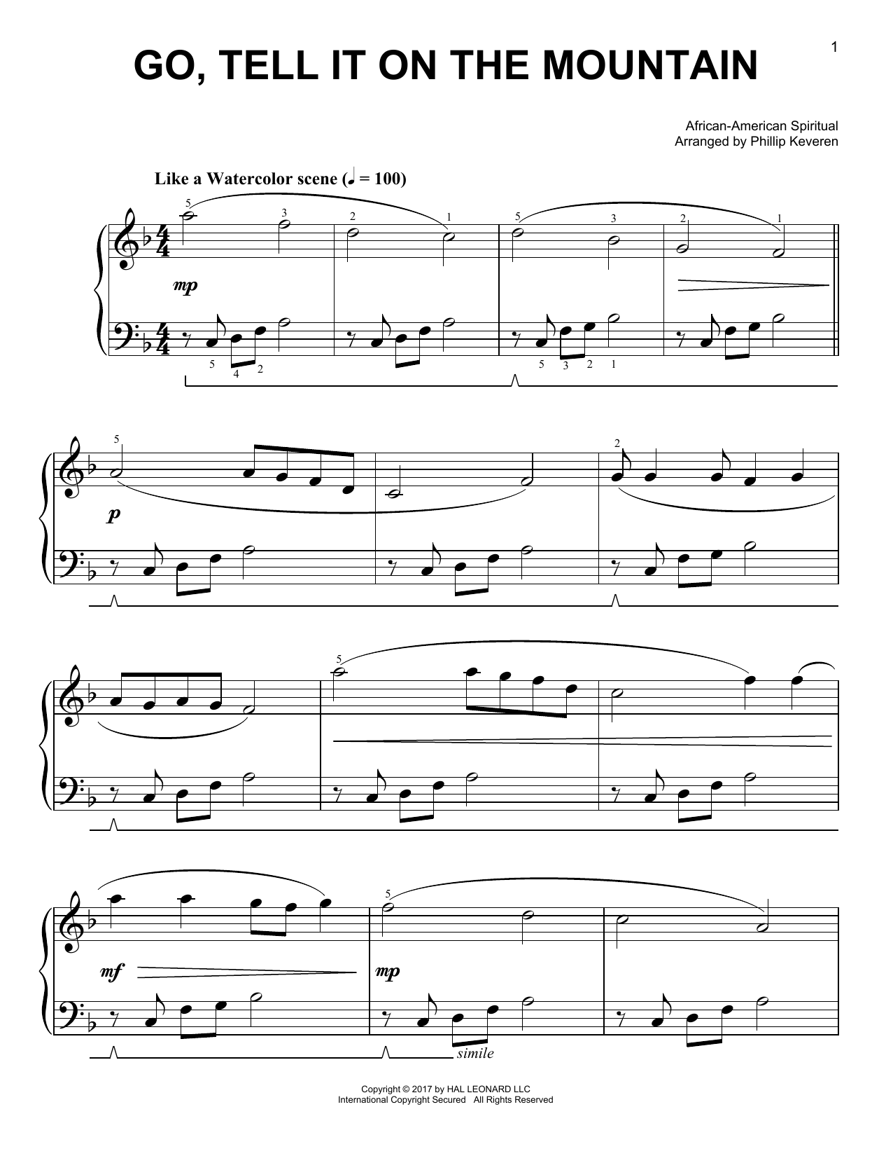 Go, Tell It On The Mountain [Classical version] (arr. Phillip Keveren) (Easy Piano)
