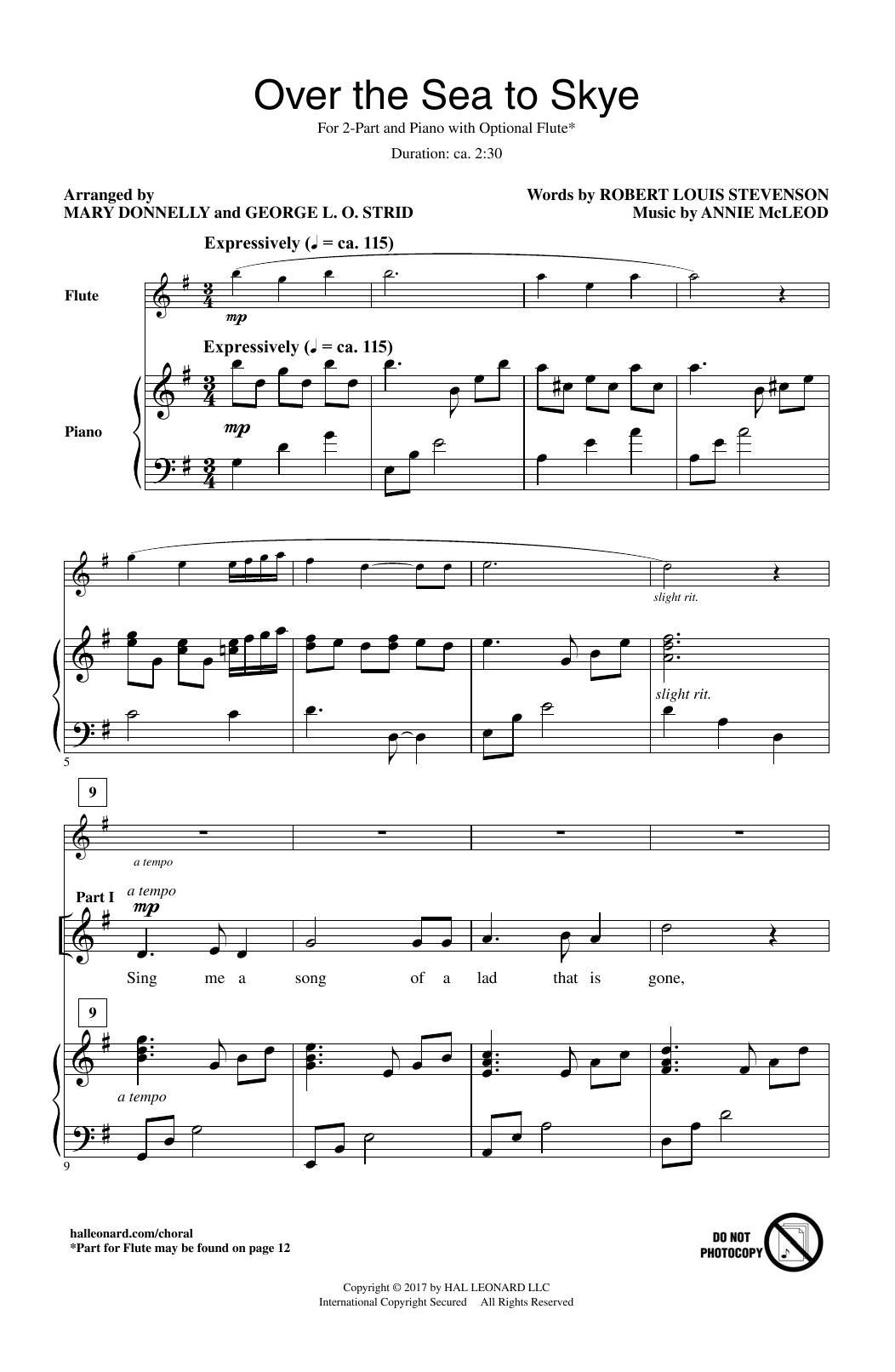 over the sea to skye sheet music
