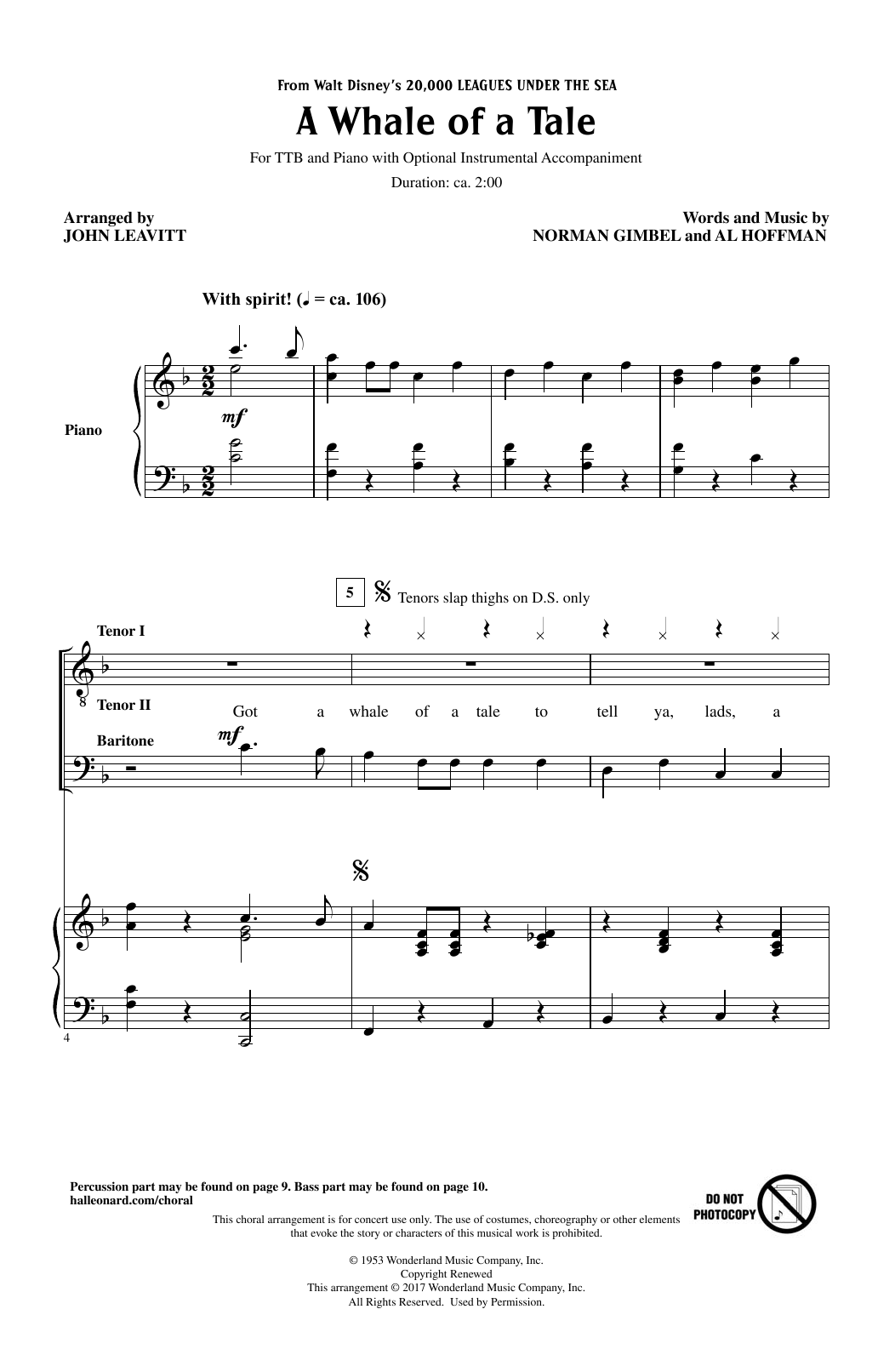 A Whale Of A Tale Sheet Music