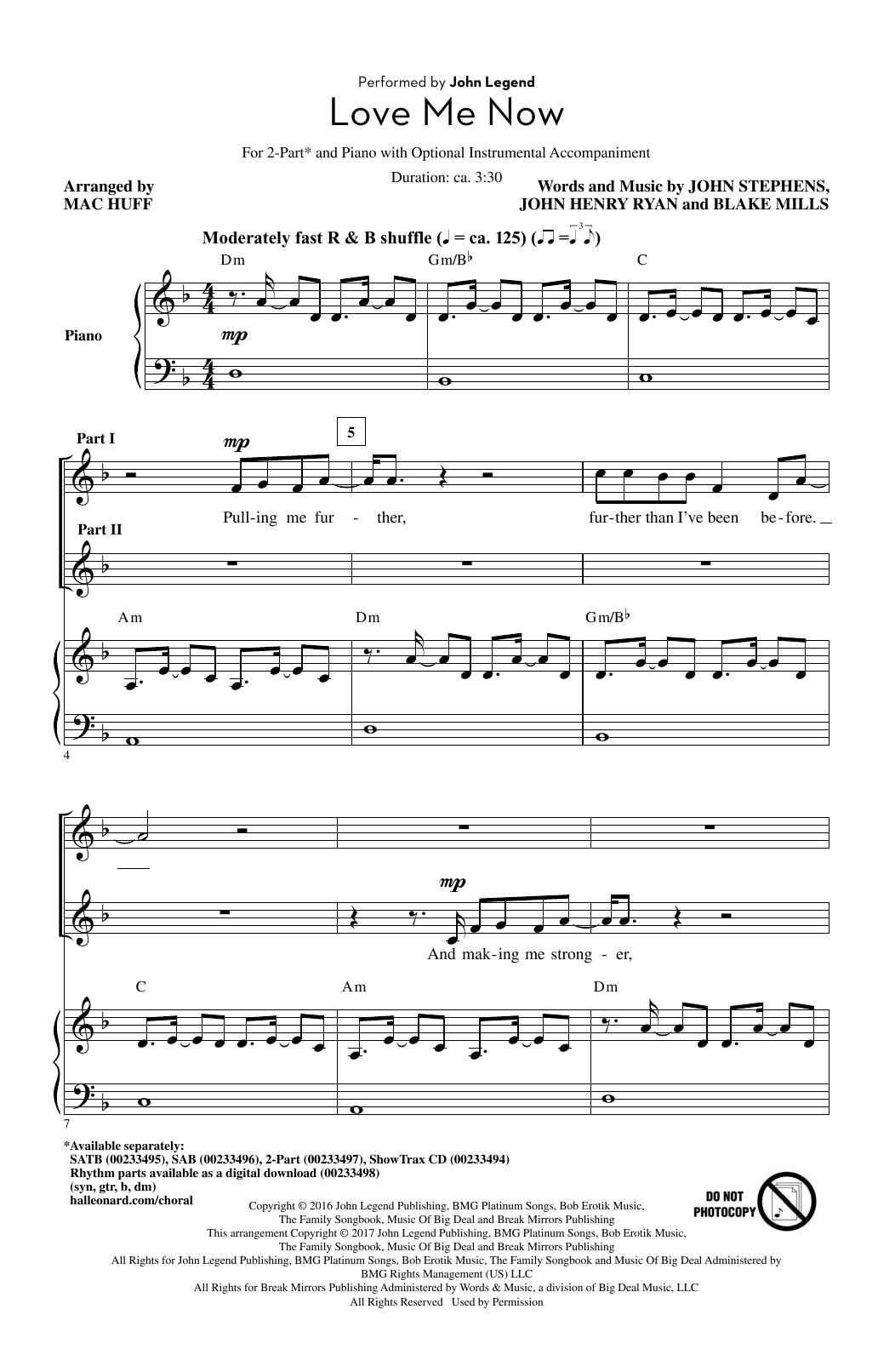Love Me Now (2-Part Choir)