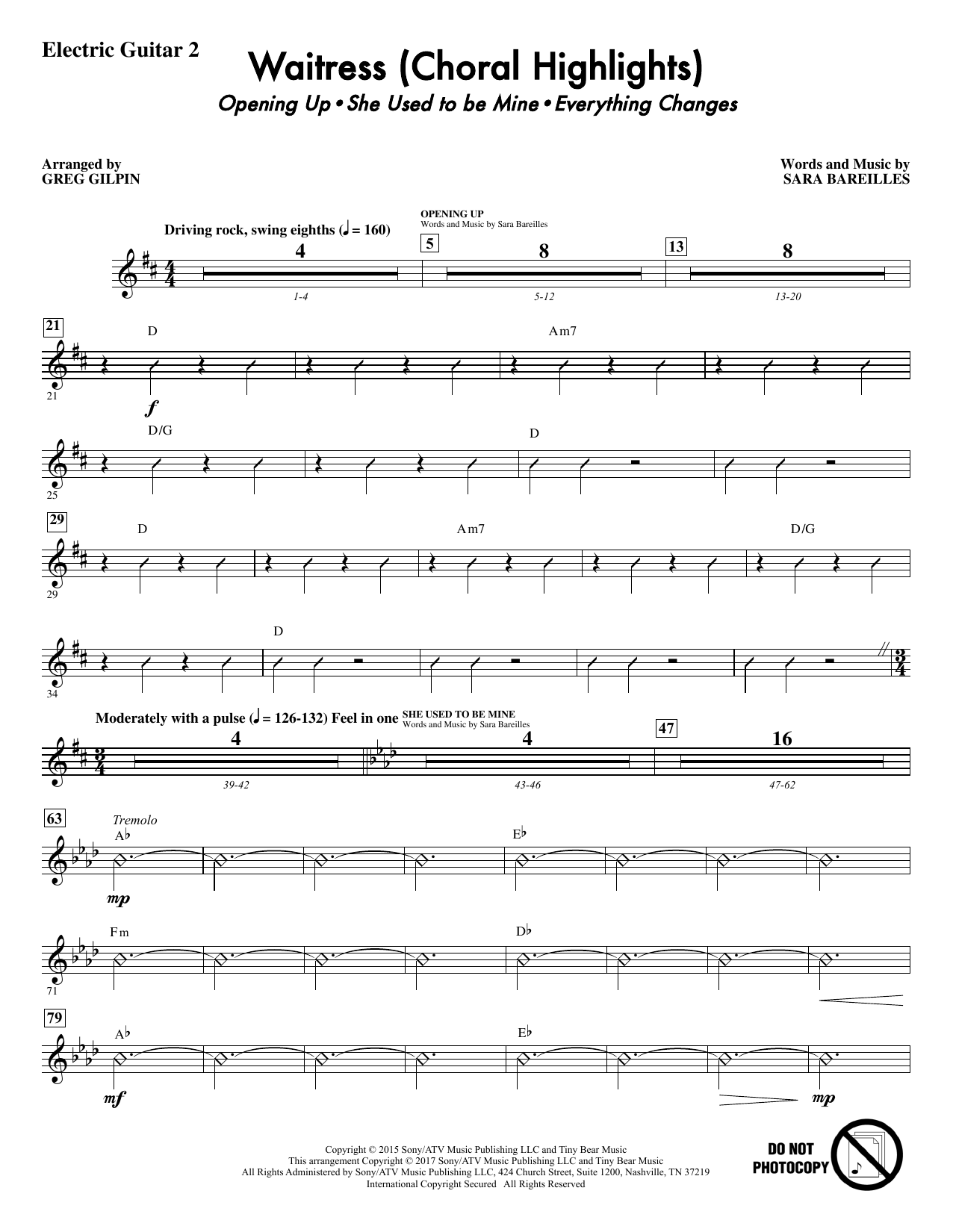 Waitress (Choral Highlights) - Guitar 2 Sheet Music