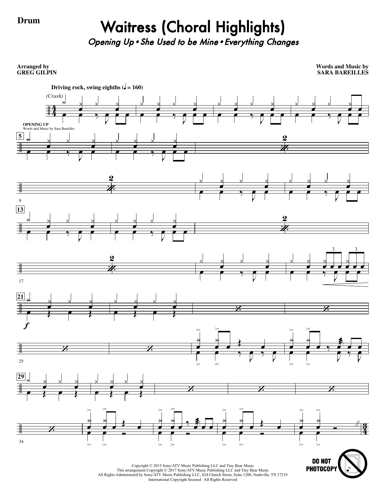 Waitress (Choral Highlights) - Drums Sheet Music
