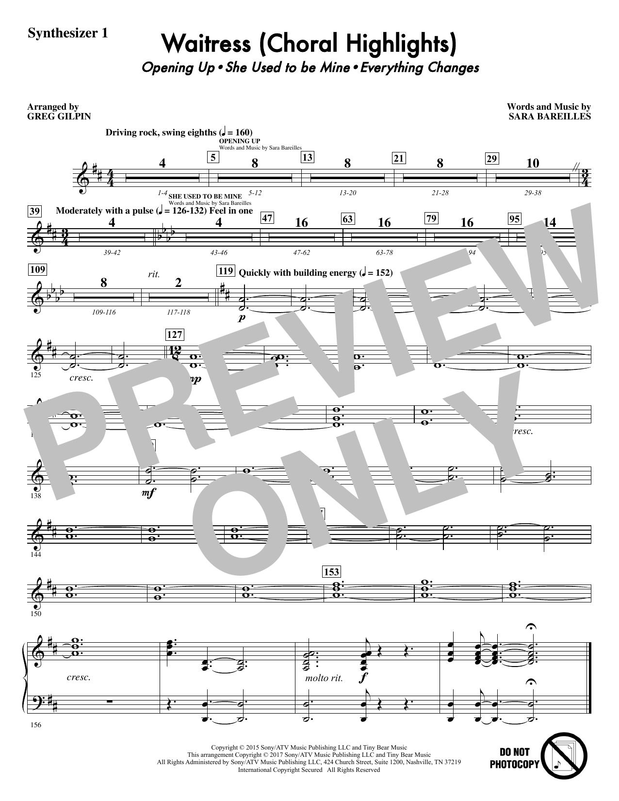 Waitress (Choral Highlights) (arr. Greg Gilpin) - Synthesizer I Sheet Music