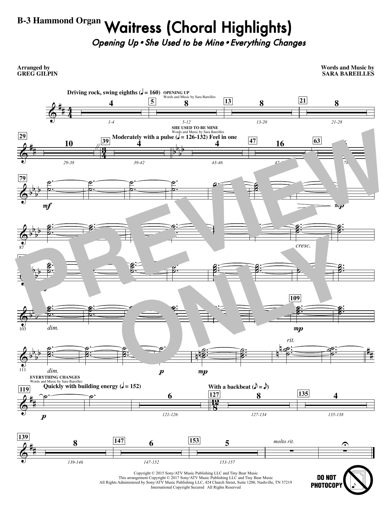 Waitress (Choral Highlights) - Hammond Organ Sheet Music