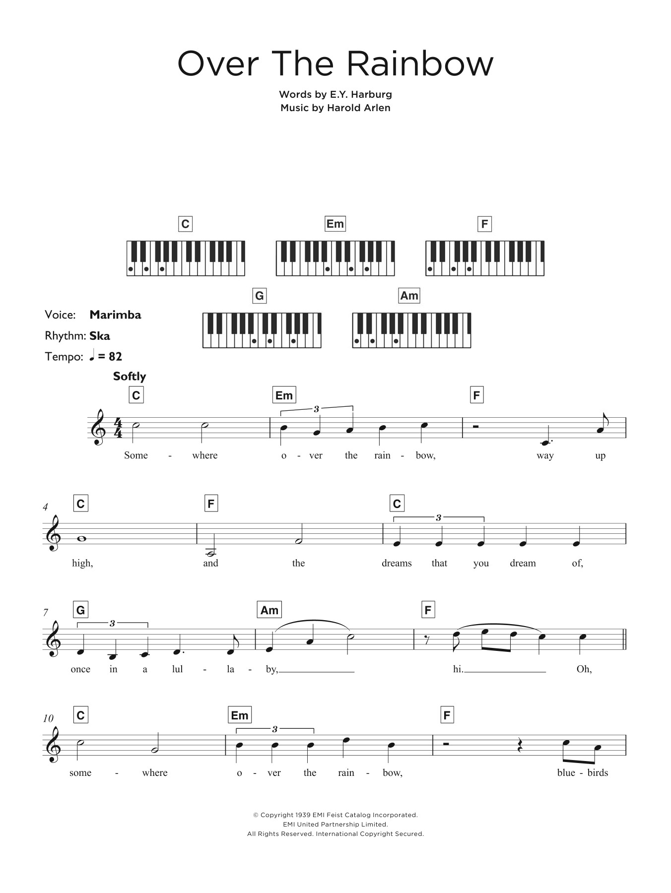 """Over The Rainbow (from """"The Wizard Of Oz"""") Sheet Music"""