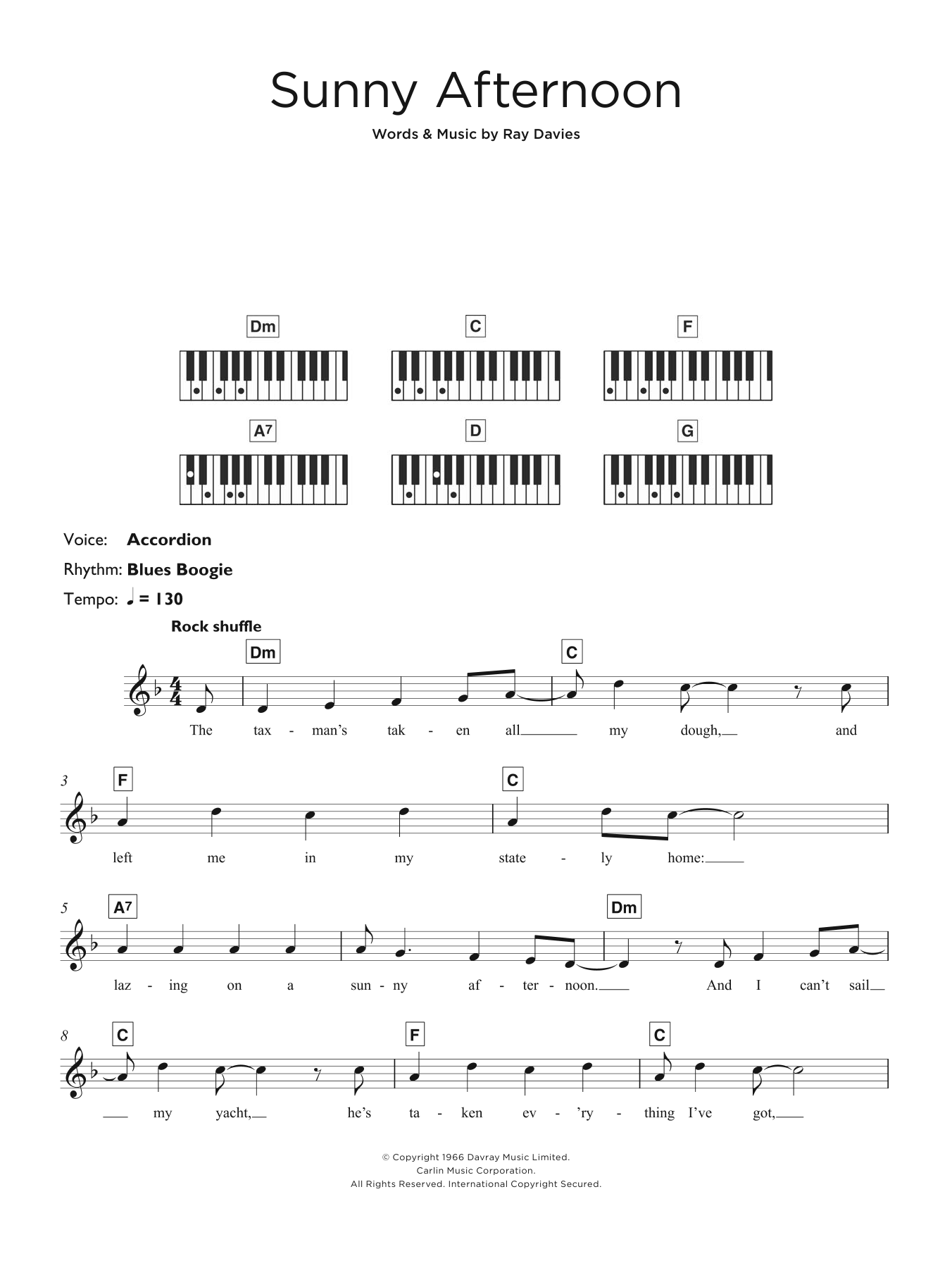 Sunny Afternoon Sheet Music