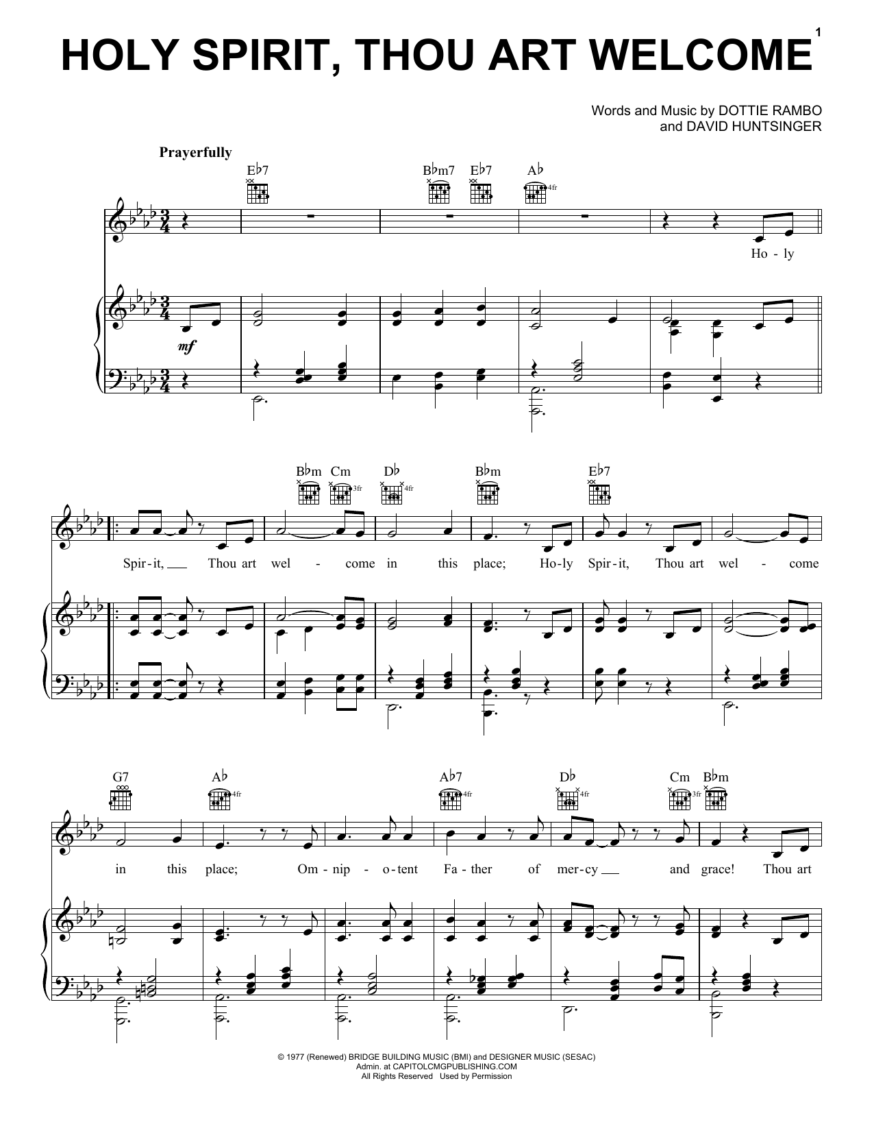 Holy Spirit, Thou Art Welcome (Piano, Vocal & Guitar (Right-Hand Melody))