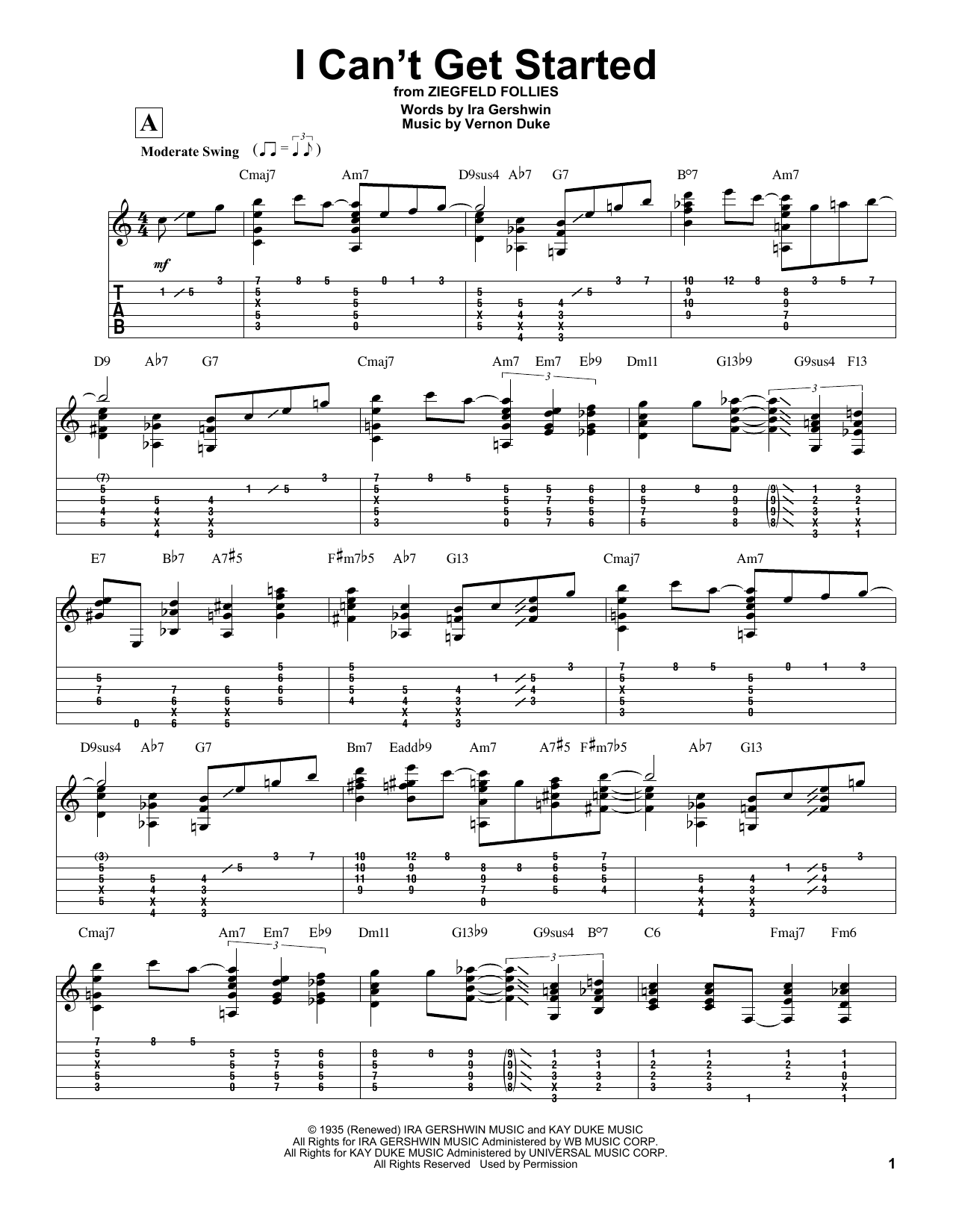 I Can't Get Started Sheet Music