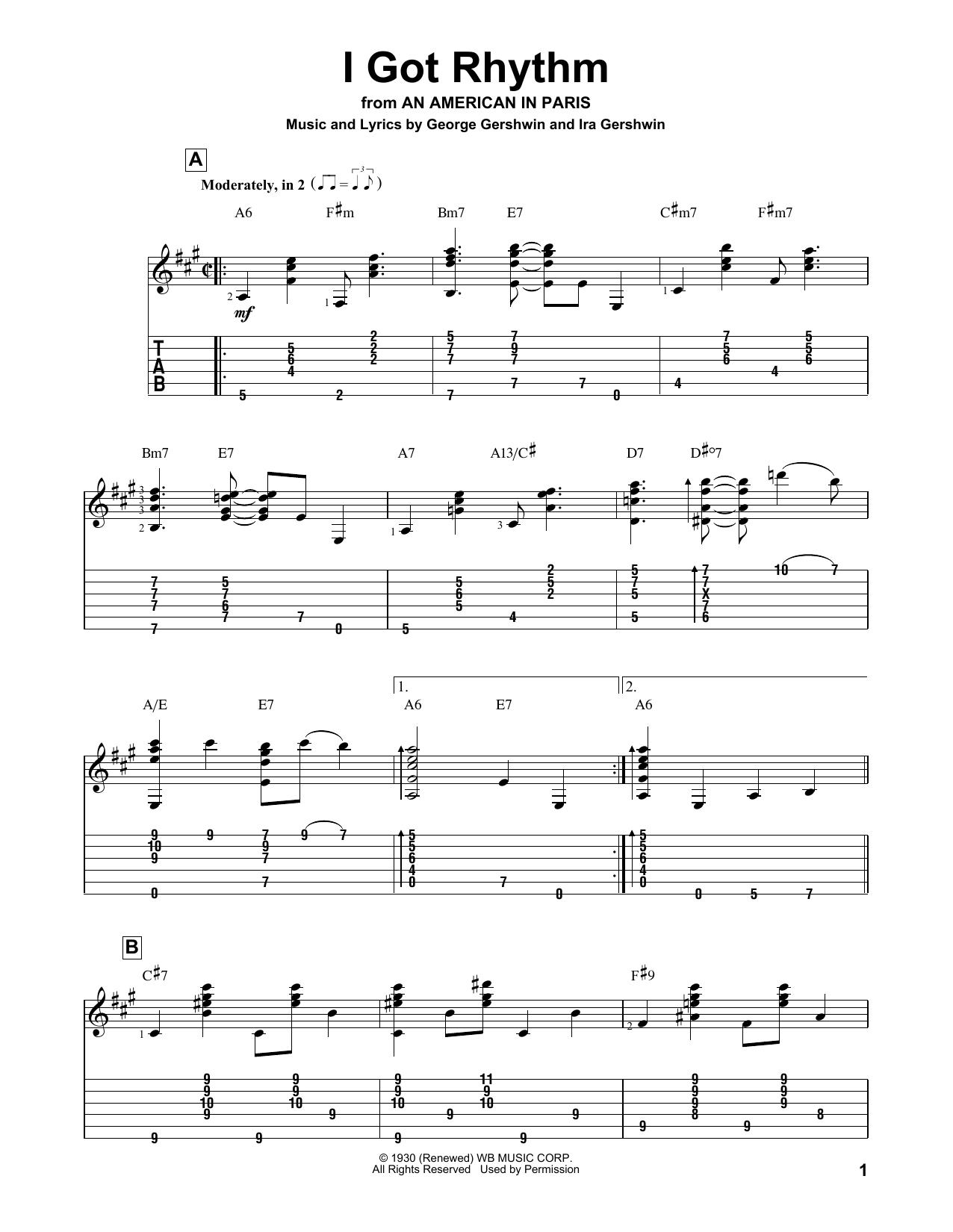 I Got Rhythm (Solo Guitar Tab)