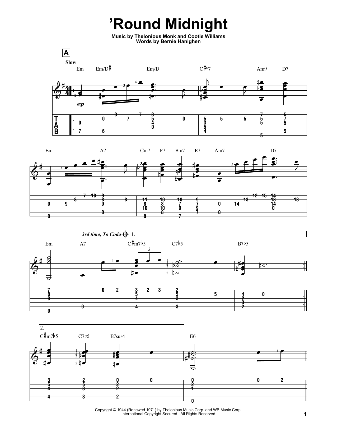 'Round Midnight (Solo Guitar Tab)