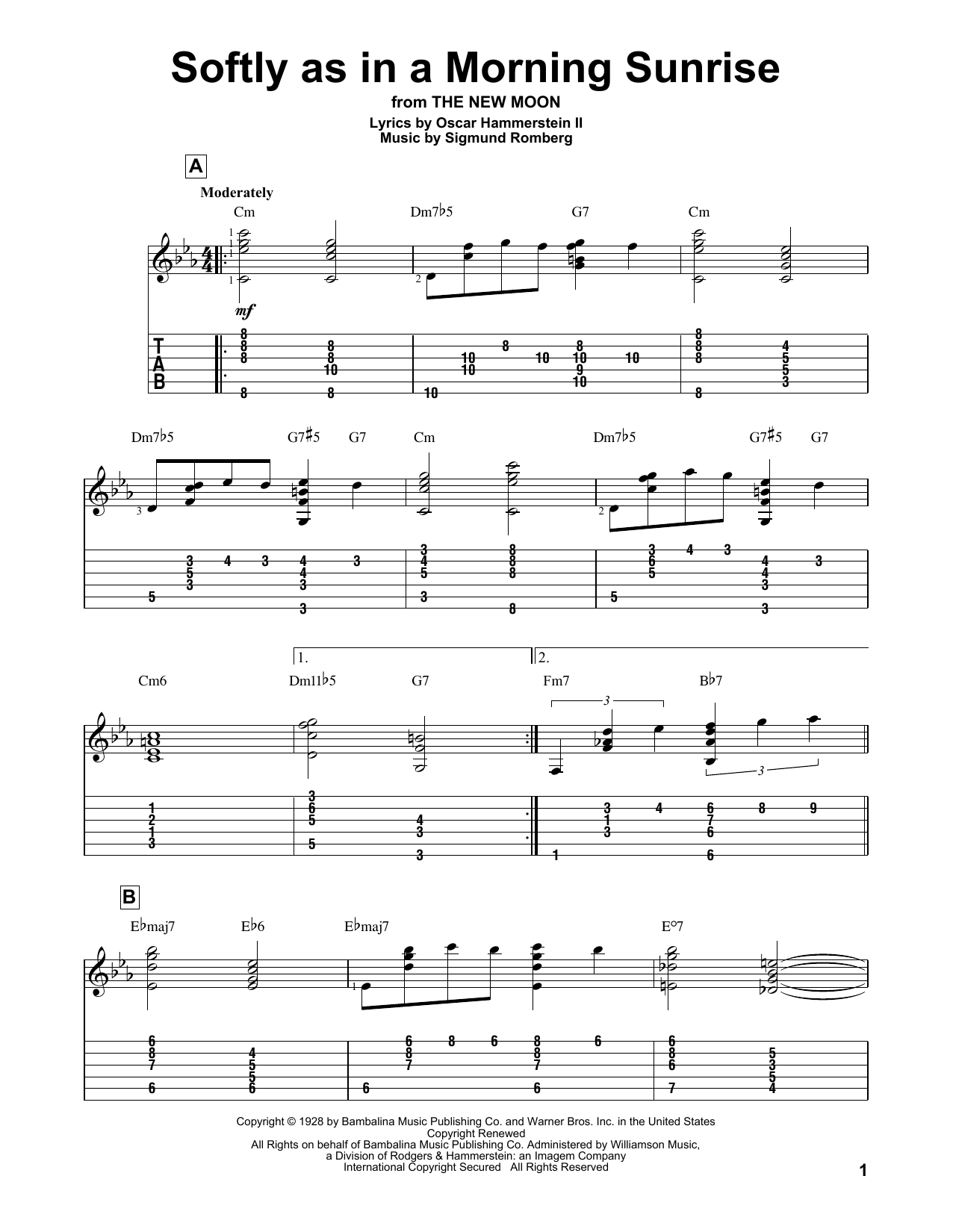 Softly As In A Morning Sunrise (Guitar Tab)